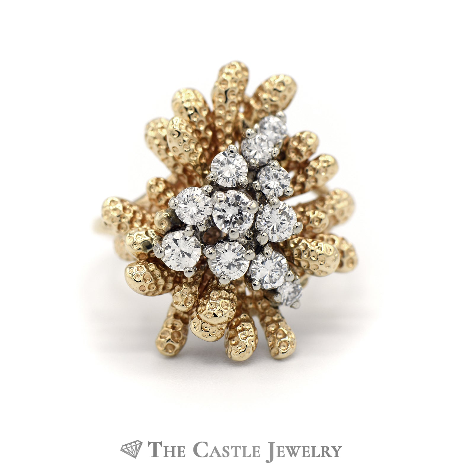 Coral Reef Diamond Cluster Ring in 14KT Yellow Gold