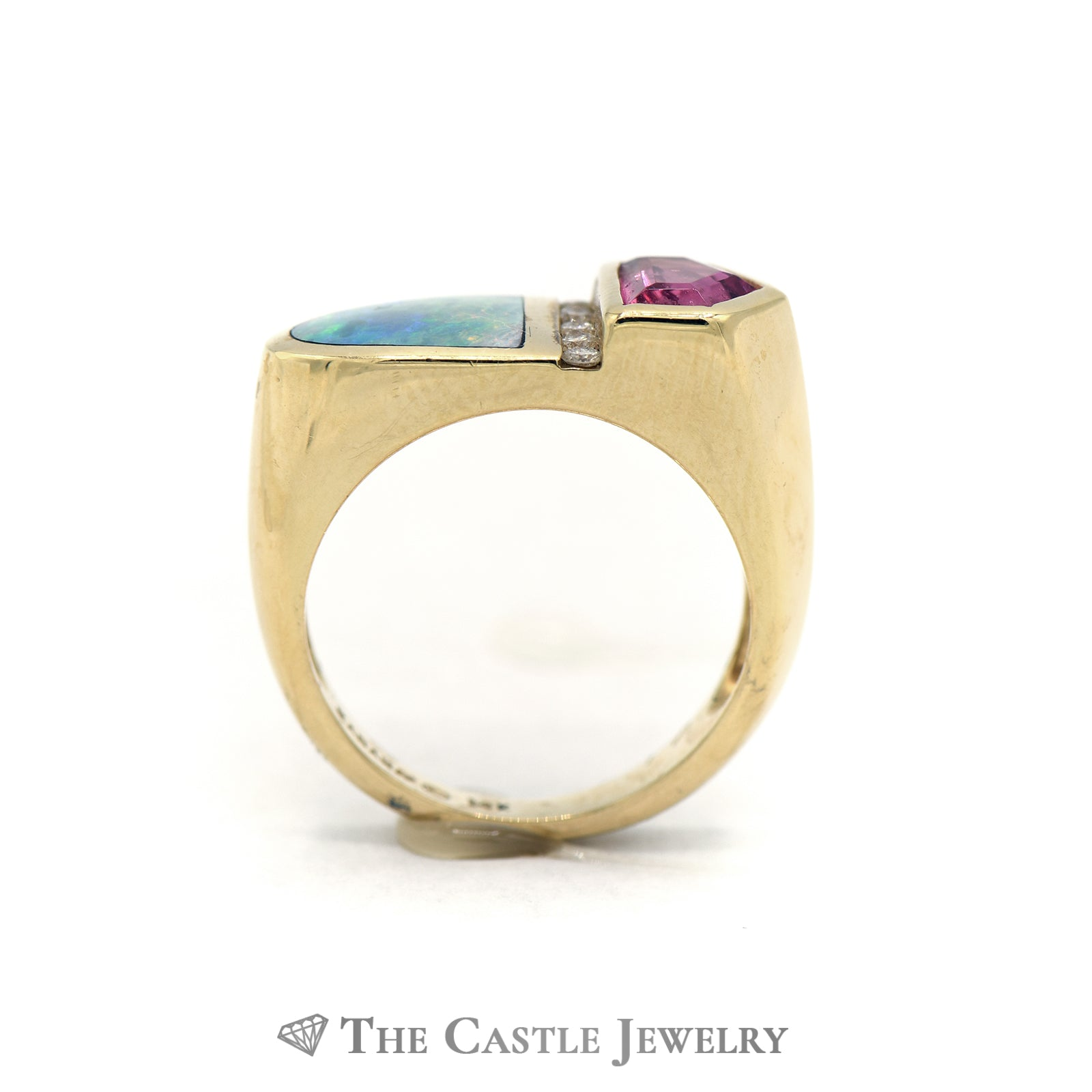 Kabana Rubellite & Diamond Ring with Opal Inlay in 14k Yellow Gold-1