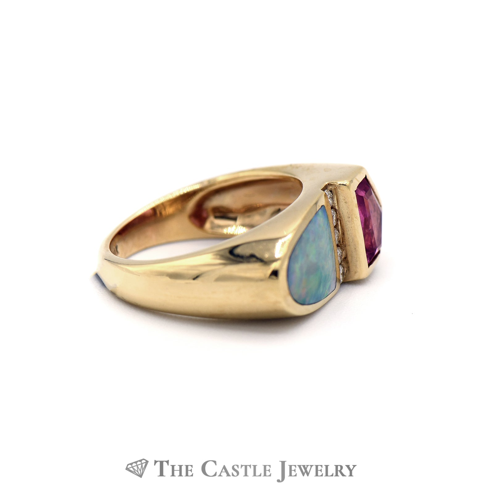 Kabana Rubellite & Diamond Ring with Opal Inlay in 14k Yellow Gold-2