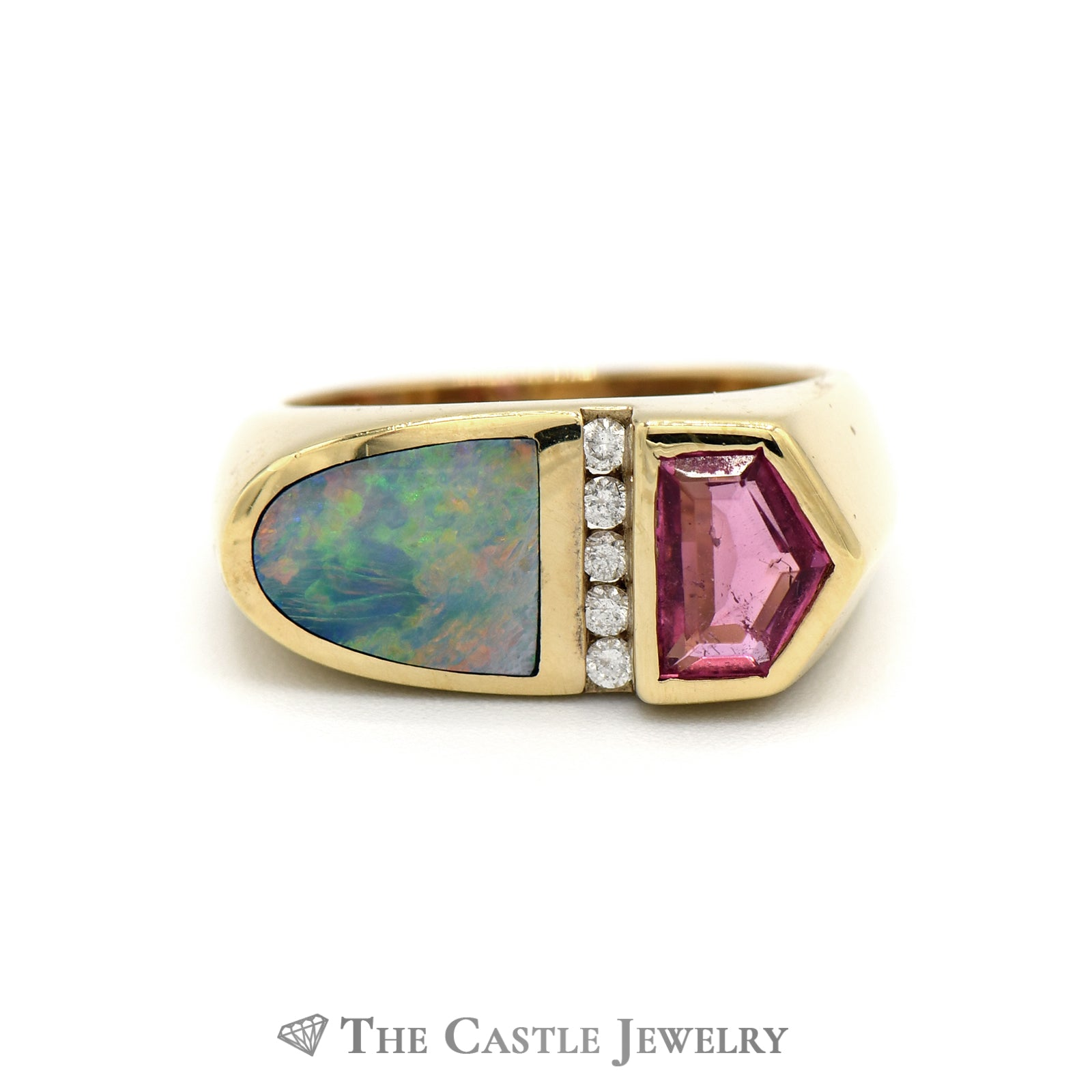 Kabana Rubellite & Diamond Ring with Opal Inlay in 14k Yellow Gold