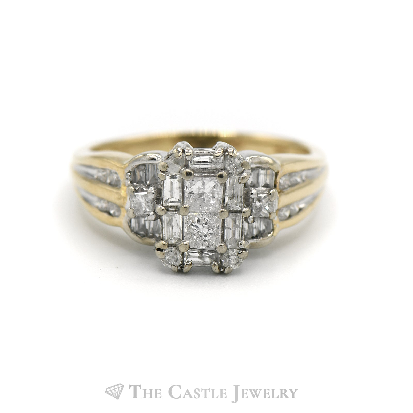 1CTTW Princess, Baguette and Round Cut Diamond Cluster Ring in 14KT Yellow Gold