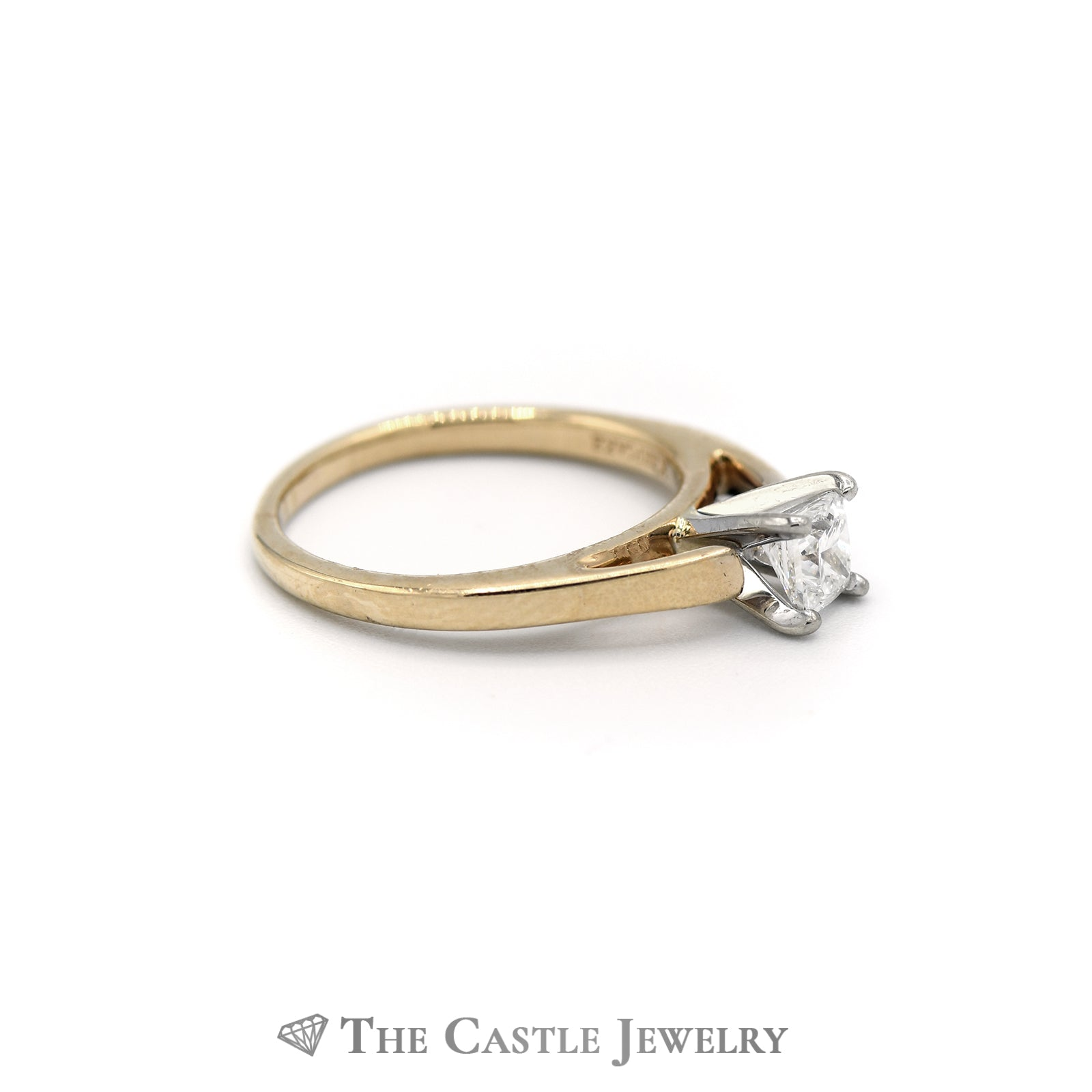 Solitaire Princess Cut 14KT Yellow Gold .50ct Engagement Ring-2