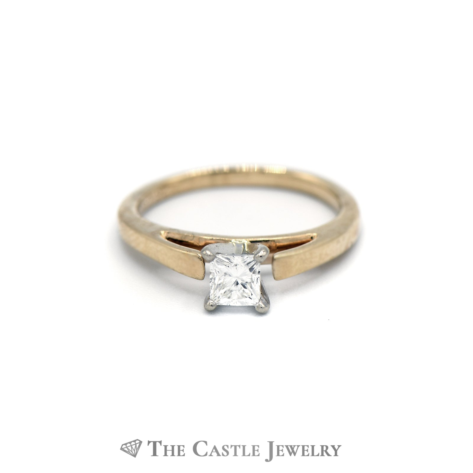 Solitaire Princess Cut 14KT Yellow Gold .50ct Engagement Ring