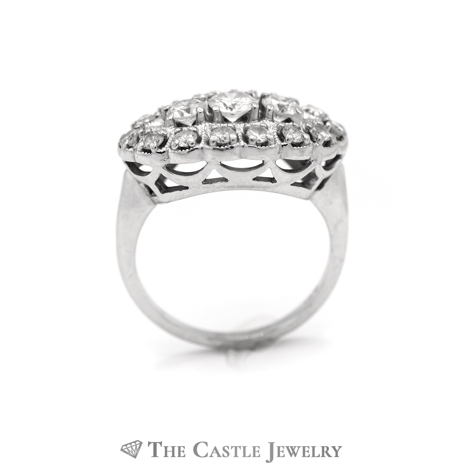 Oval Shaped 1cttw Diamond Cluster Ring in 14k White Gold-1