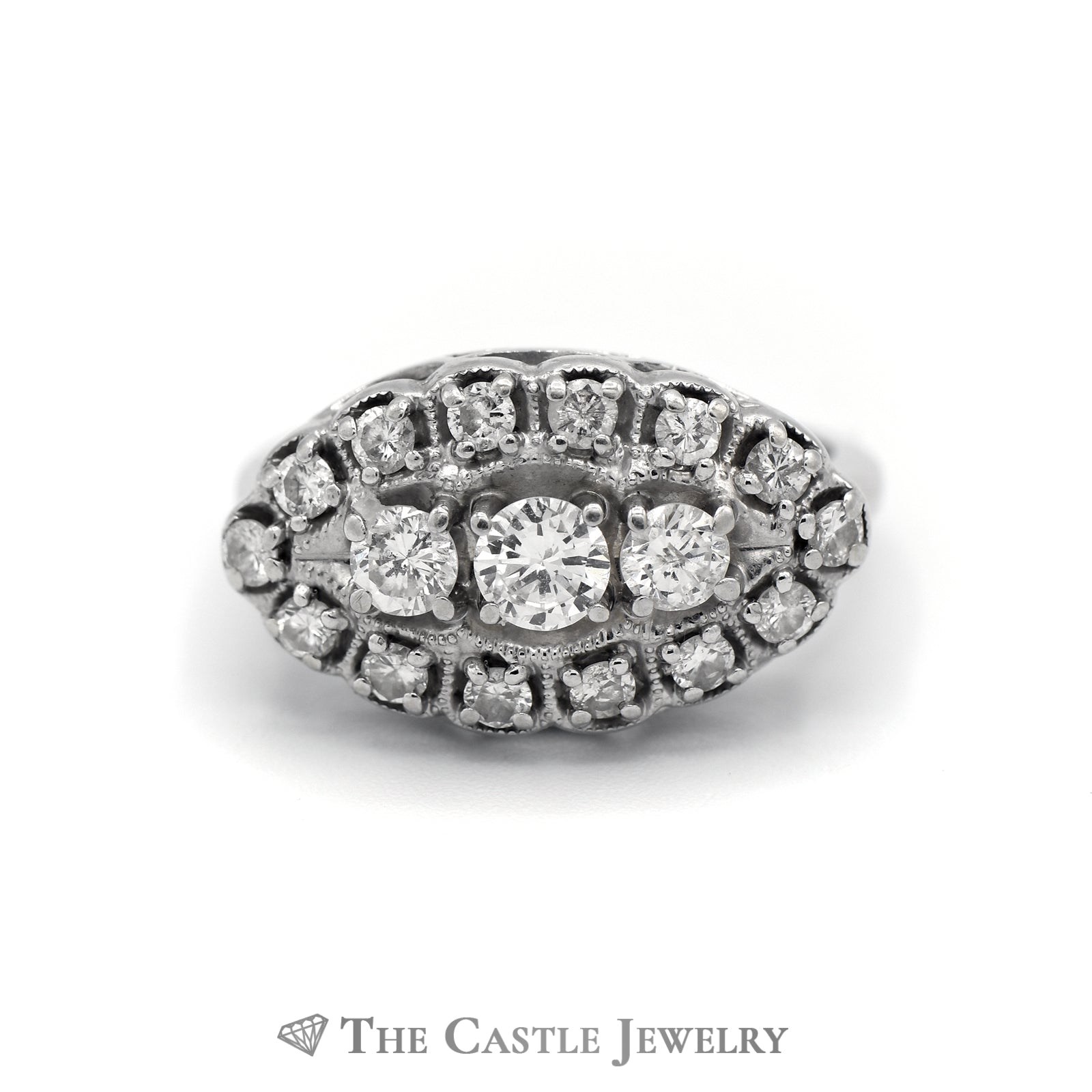 Oval Shaped 1cttw Diamond Cluster Ring in 14k White Gold