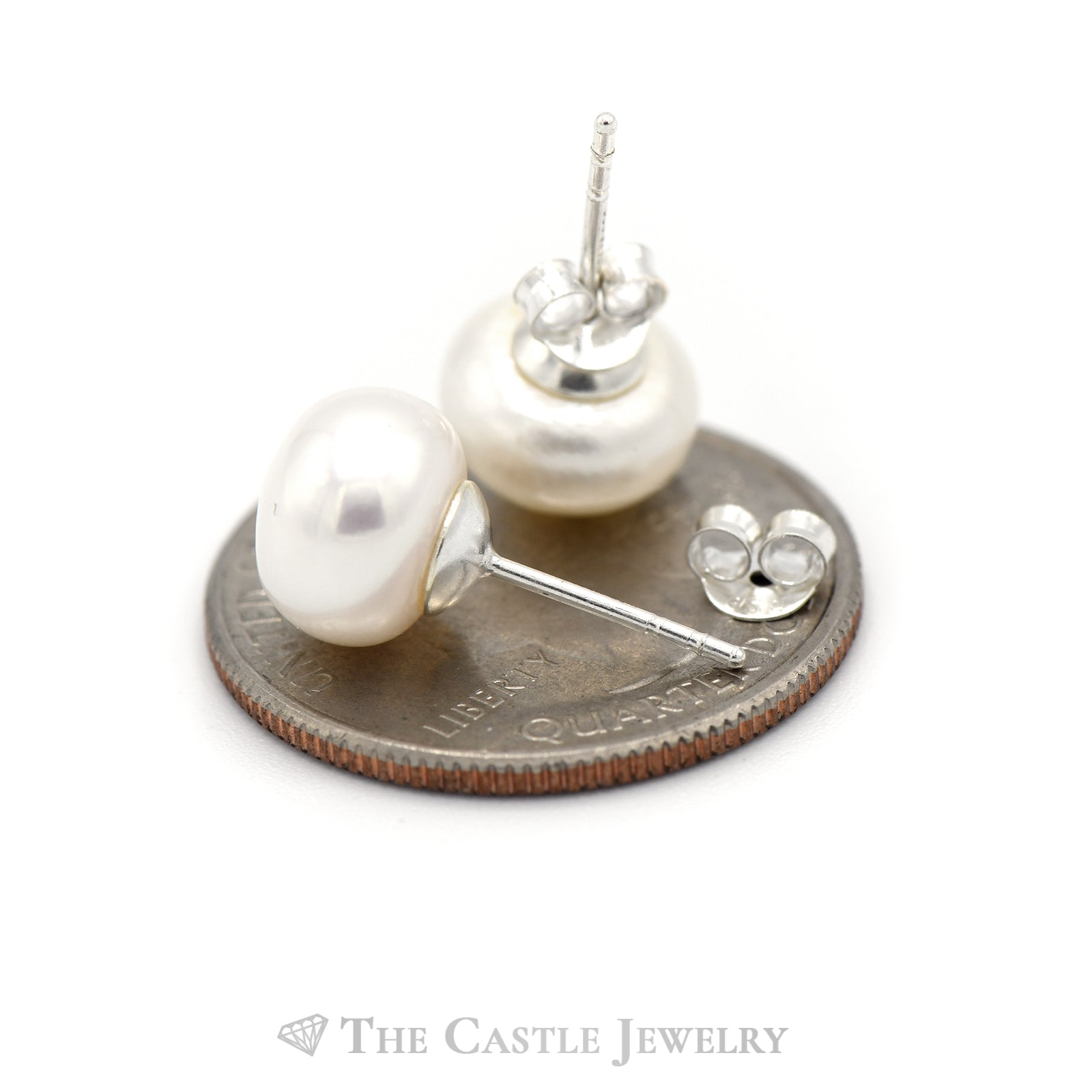 Pearl Button Studs in Sterling Silver-1