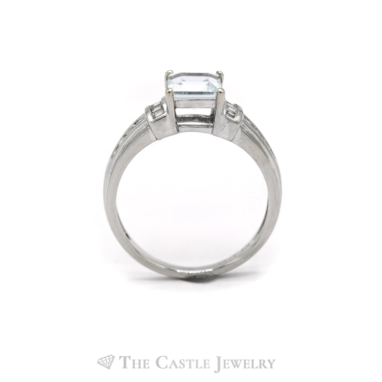 Square Shaped Aquamarine Ring with Baguette & Round Diamond Accents in 10k White Gold-1