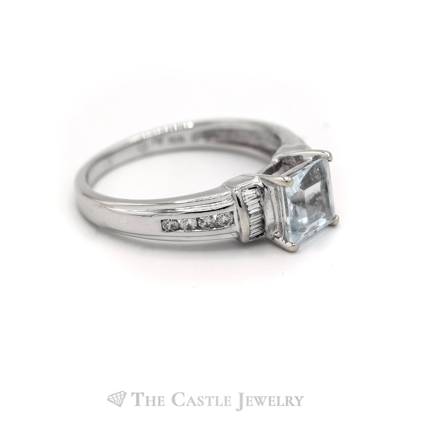 Square Shaped Aquamarine Ring with Baguette & Round Diamond Accents in 10k White Gold-2