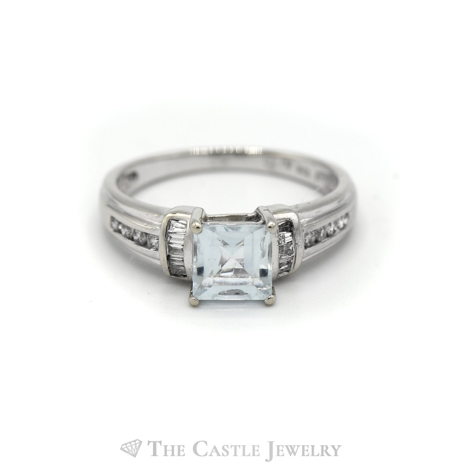 Square Shaped Aquamarine Ring with Baguette & Round Diamond Accents in 10k White Gold