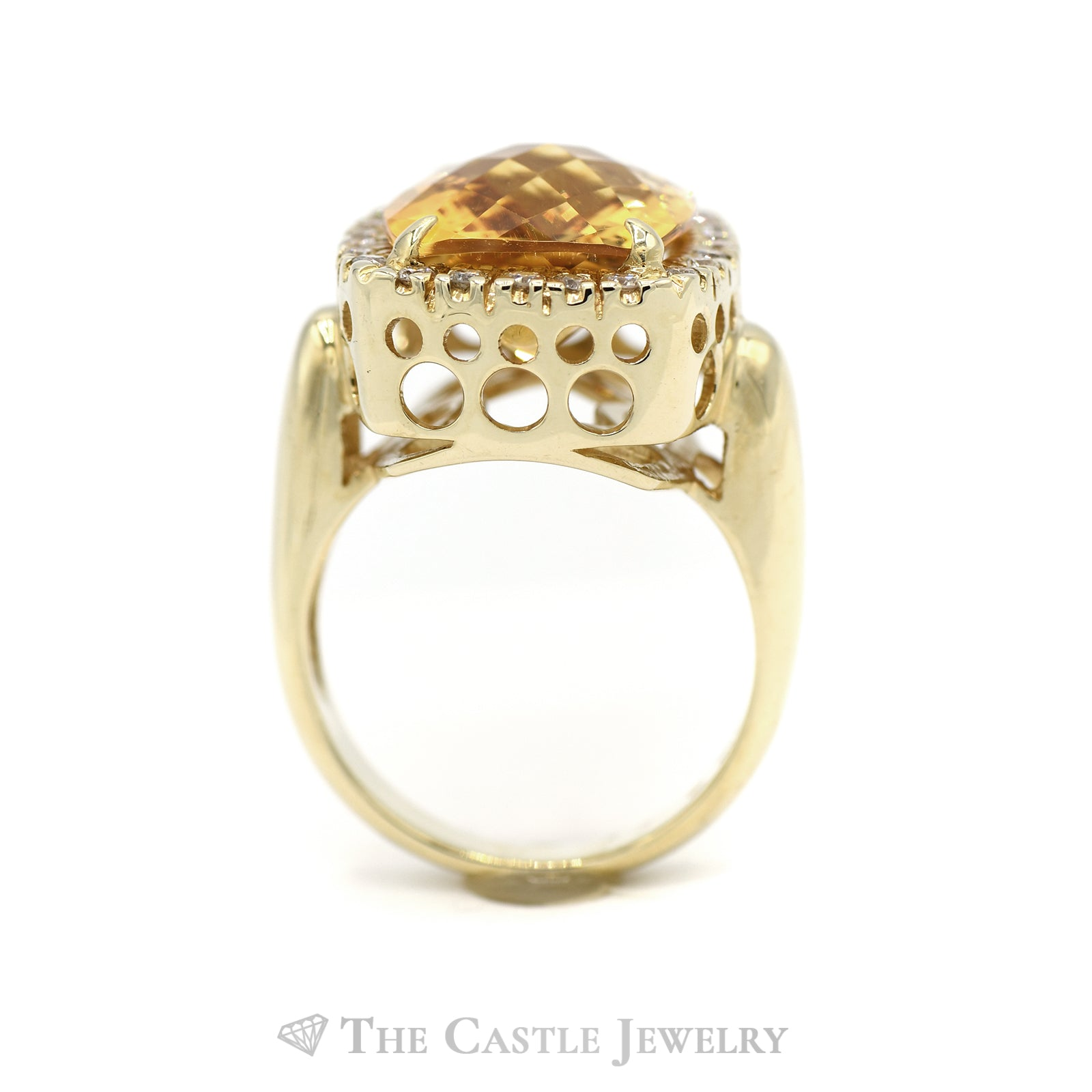 Fancy Citrine Ring with Diamond Bezel in 14K Yellow Gold-1