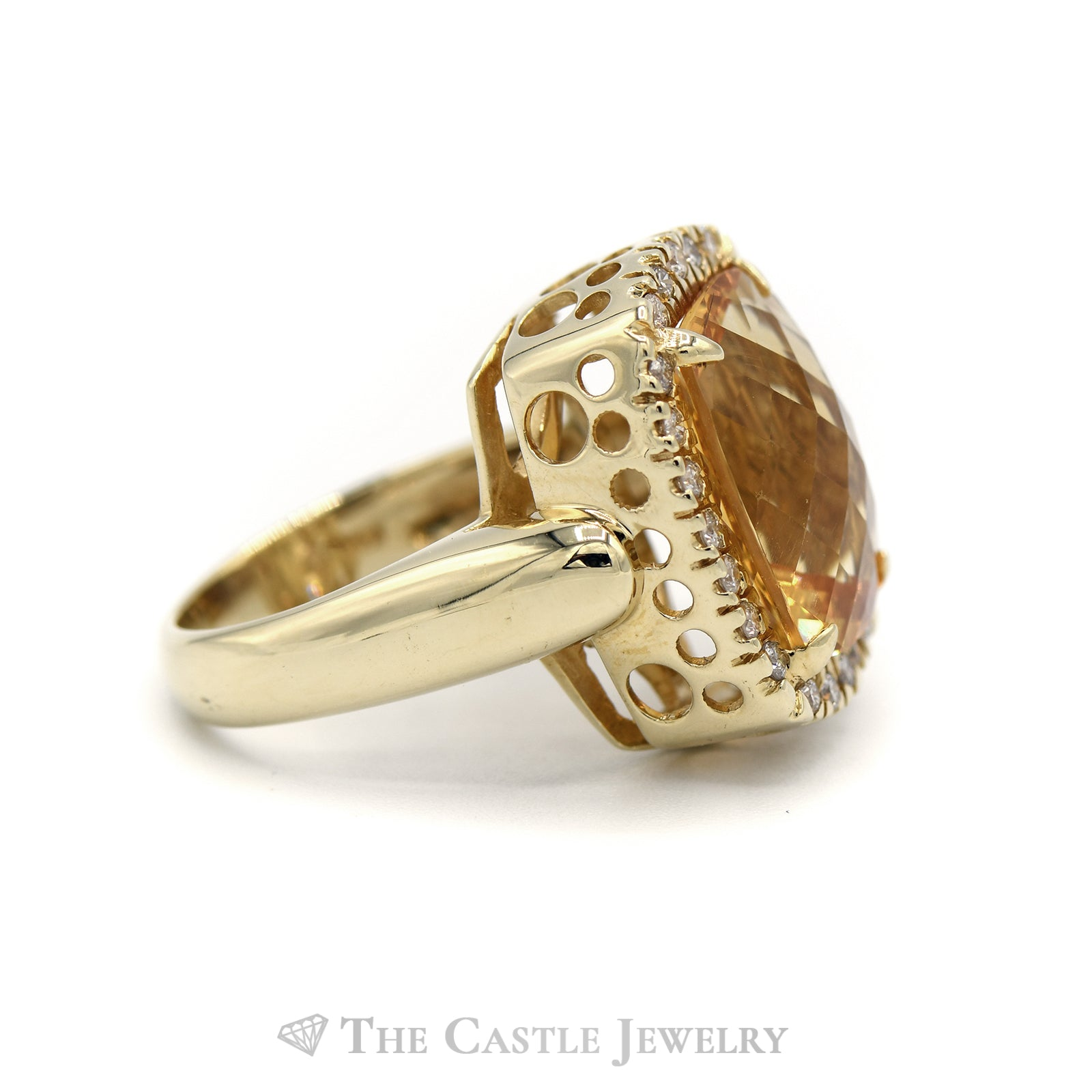 Fancy Citrine Ring with Diamond Bezel in 14K Yellow Gold-2