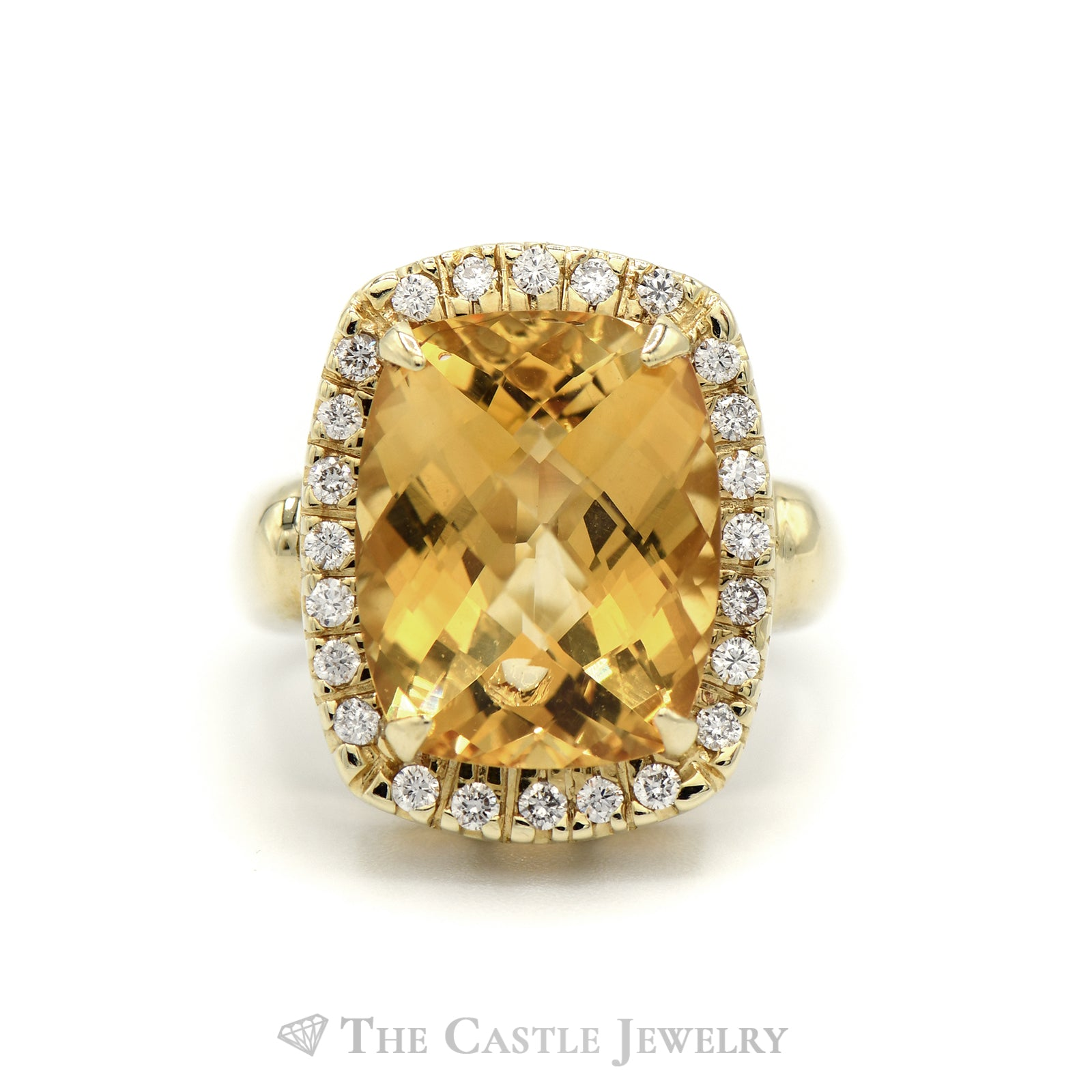 Fancy Citrine Ring with Diamond Bezel in 14K Yellow Gold