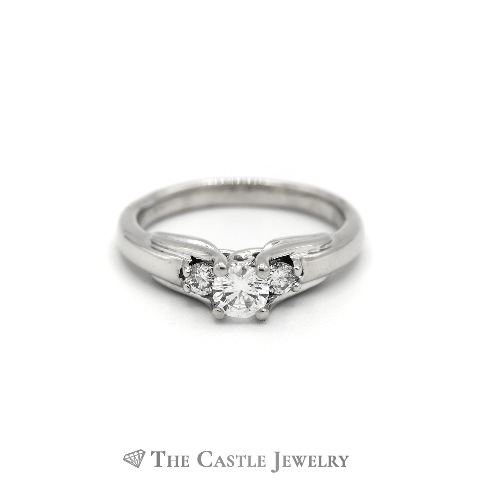 3 Stone Round Diamond Engagement Ring Fancy Cathedral Mounting in 14K White Gold