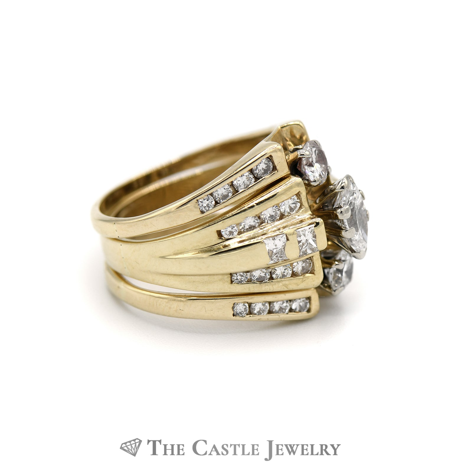 Unique 2cttw Diamond Bridal Set Crafted in 14K Yellow Gold-2