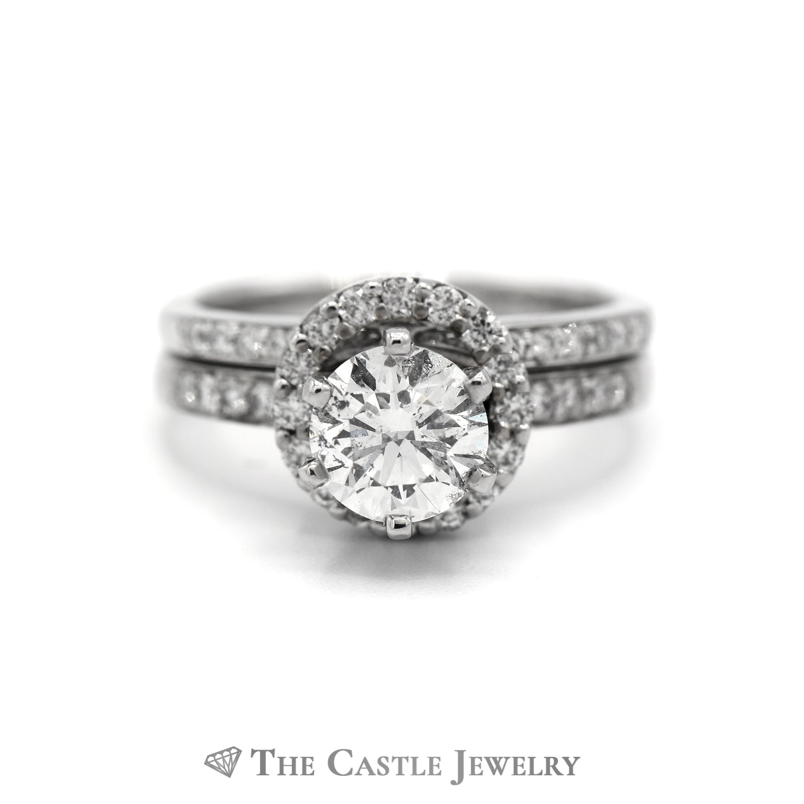 Round Diamond Bridal Set with Diamond Halo & Accented Matching Band in 14k White Gold