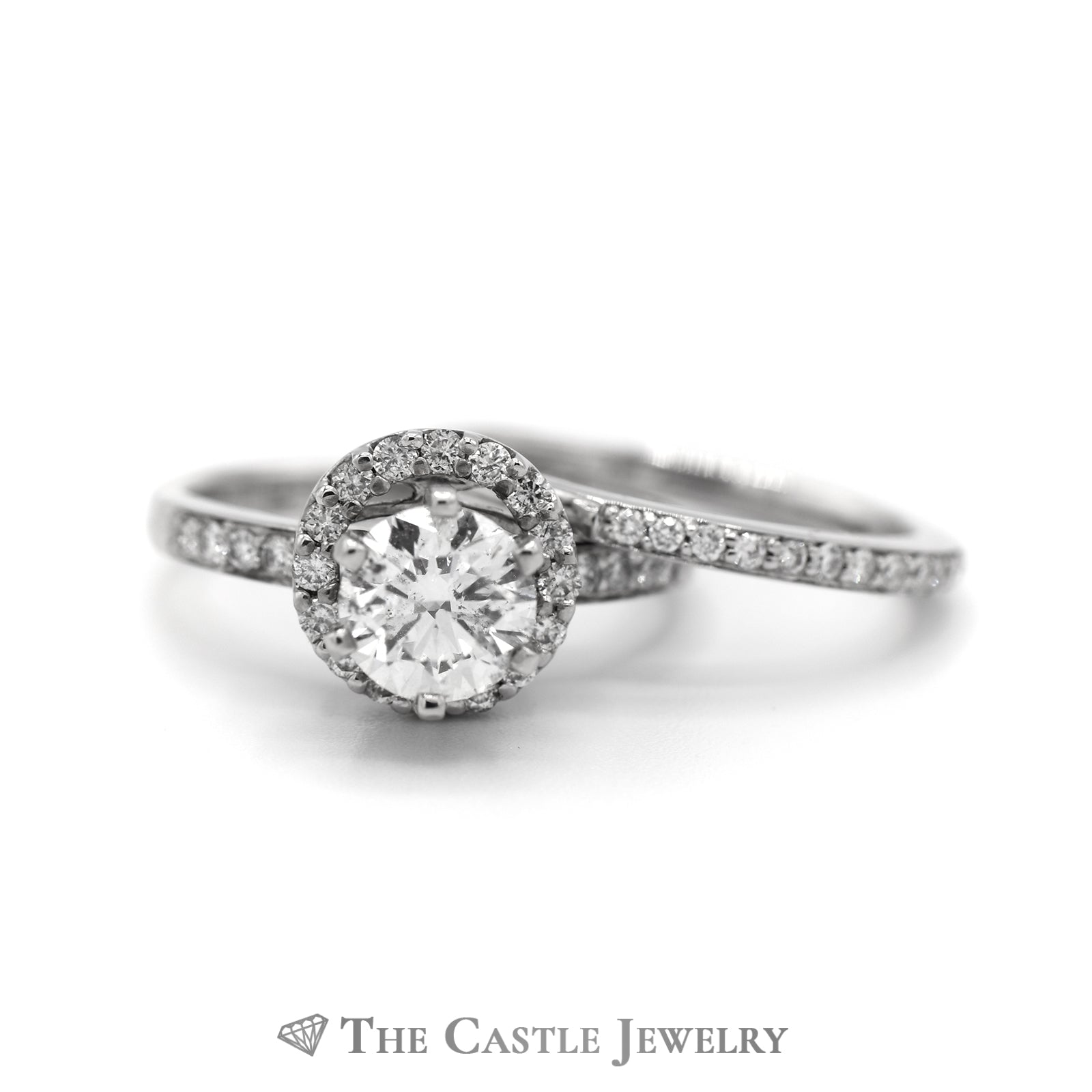 Round Diamond Bridal Set with Diamond Halo & Accented Matching Band in 14k White Gold-2