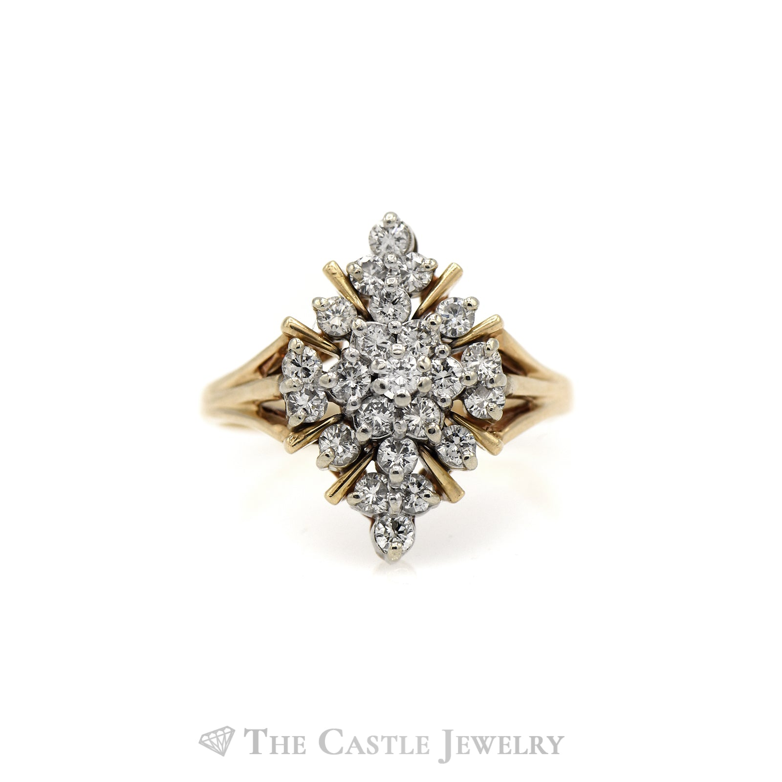 Snowflake Shape Diamond Cluster Ring in 14KT Yellow Gold