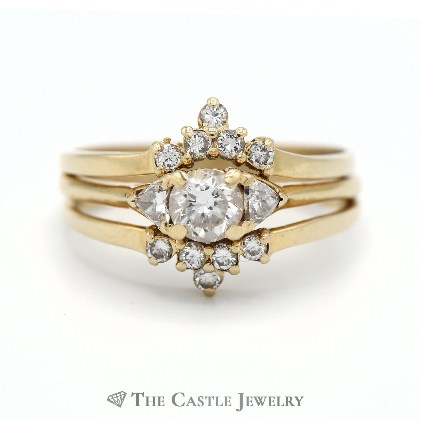 Diamond Bridal Set with Two Soldered Bands in 14k Yellow Gold