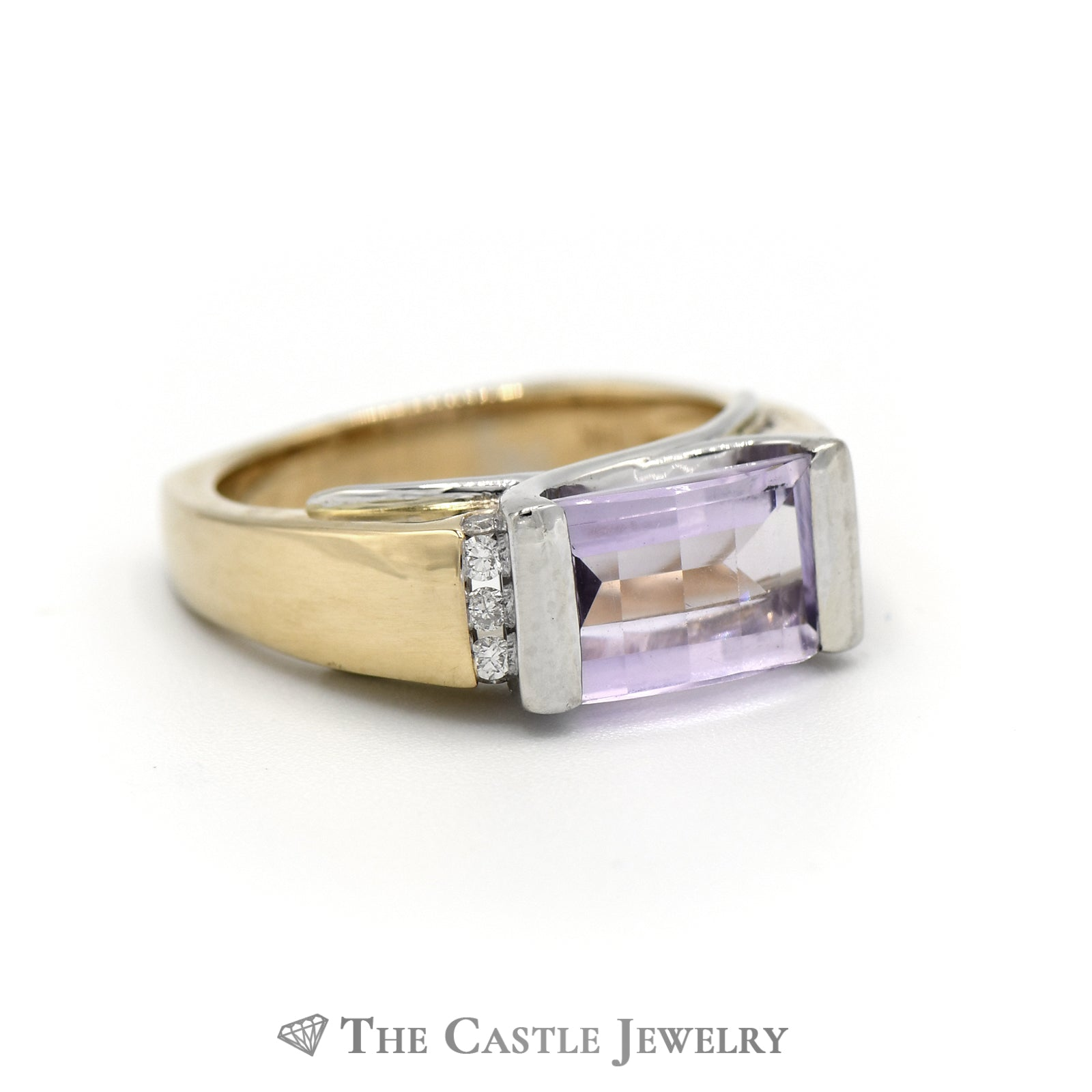 Fancy Cut Amethyst Ring With .09cttw Diamonds 14K Yellow Gold-2