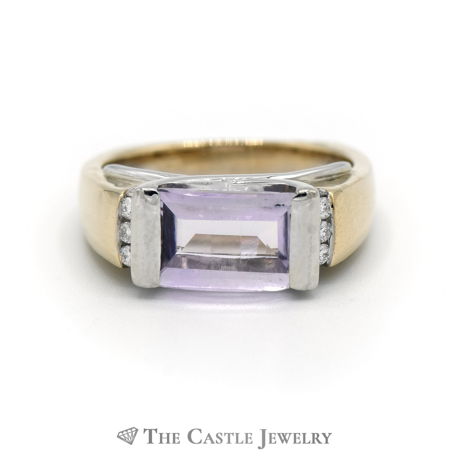 Fancy Cut Amethyst Ring With .09cttw Diamonds 14K Yellow Gold