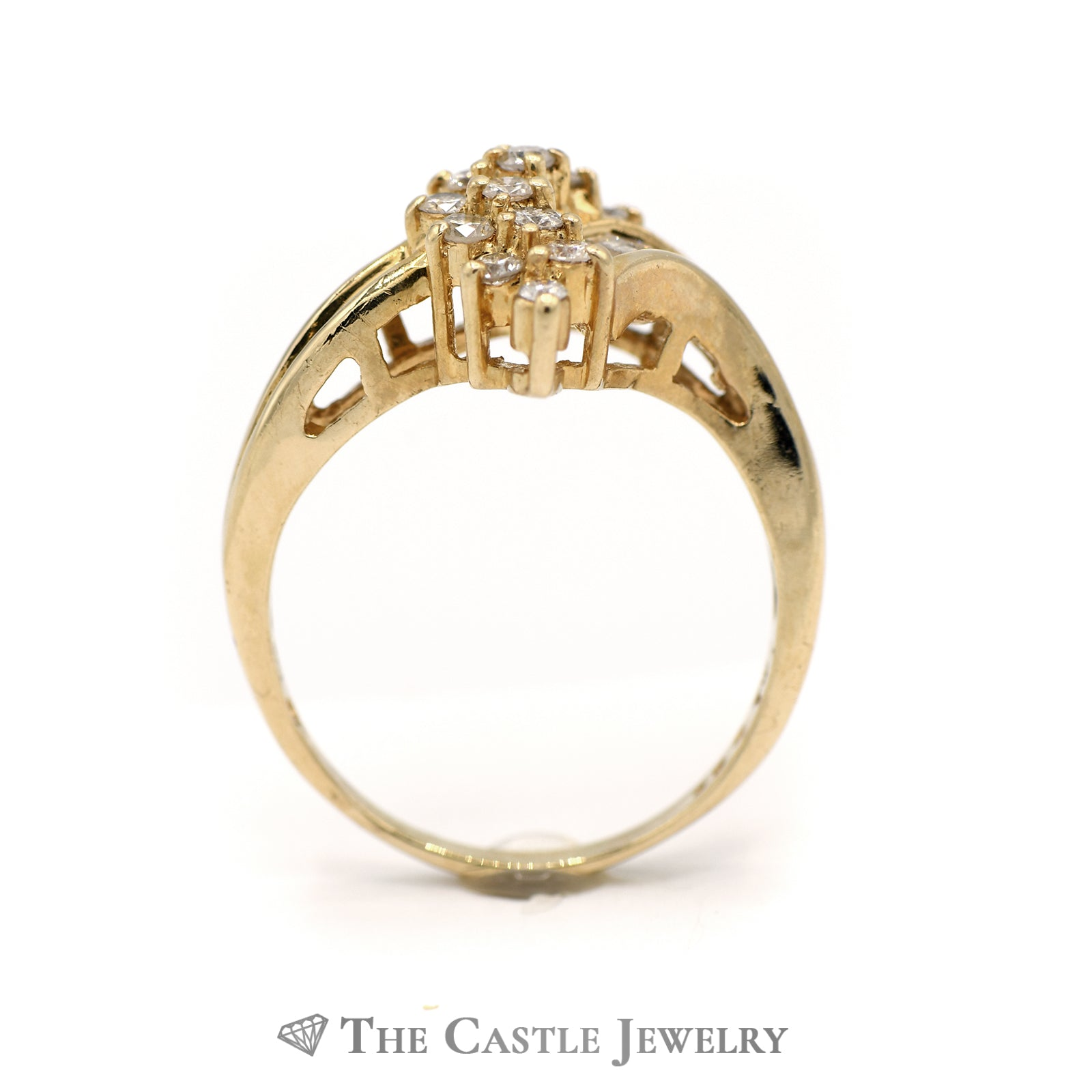Swirl Diamond Cluster and Diamond Side Ring in 14KT Yellow Gold-1