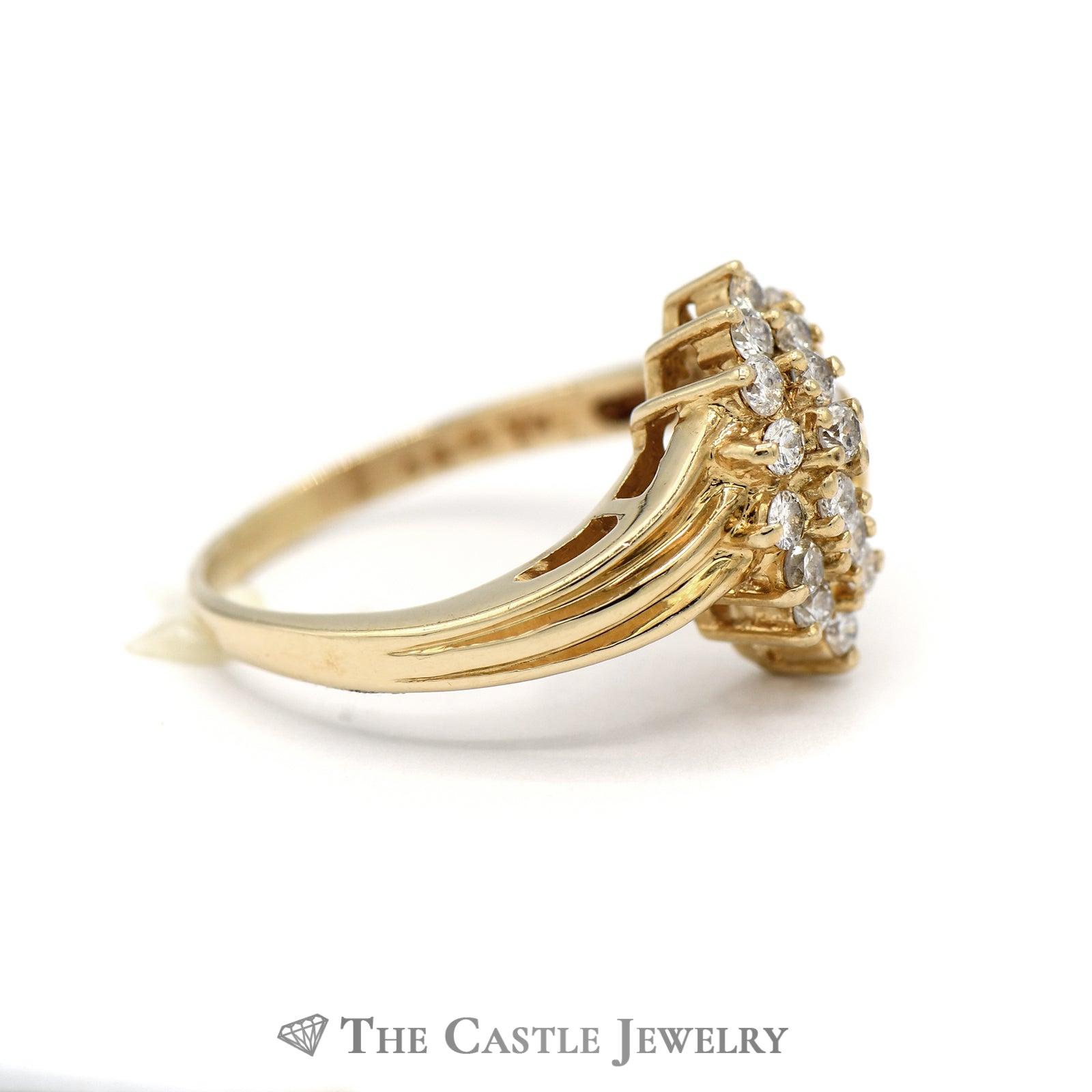 Swirl Diamond Cluster and Diamond Side Ring in 14KT Yellow Gold-2