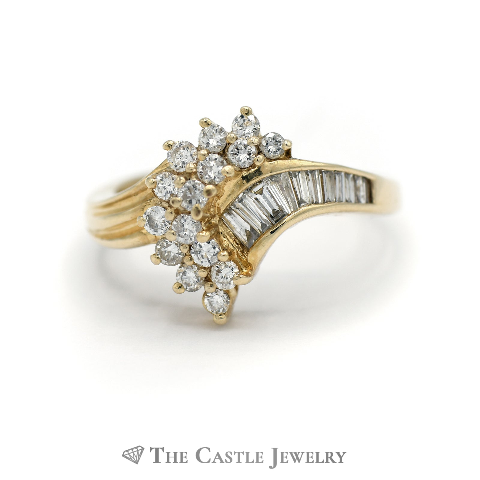 Swirl Diamond Cluster and Diamond Side Ring in 14KT Yellow Gold