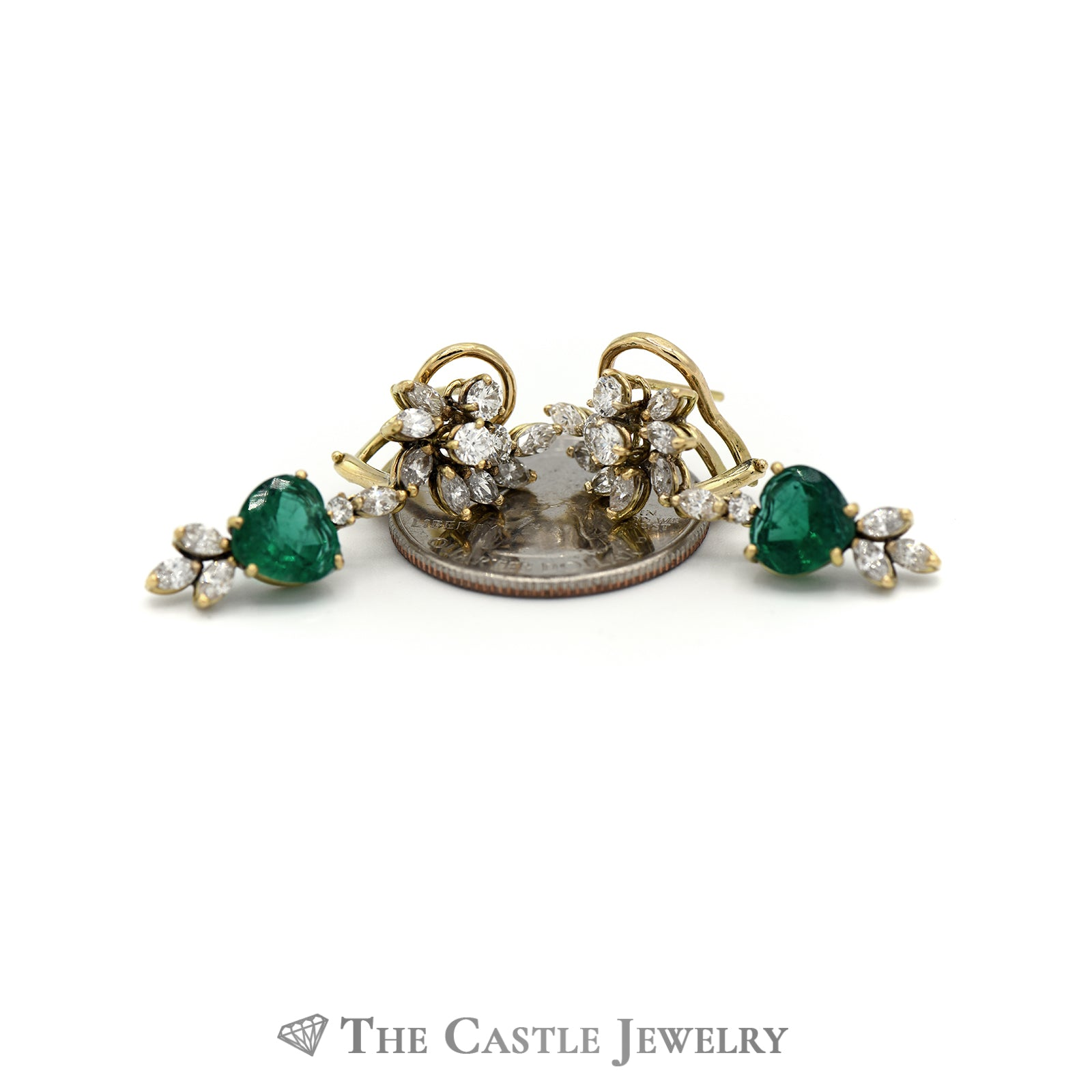 Heart Shaped Emerald & Diamond Earrings In 14k Yellow Gold-2