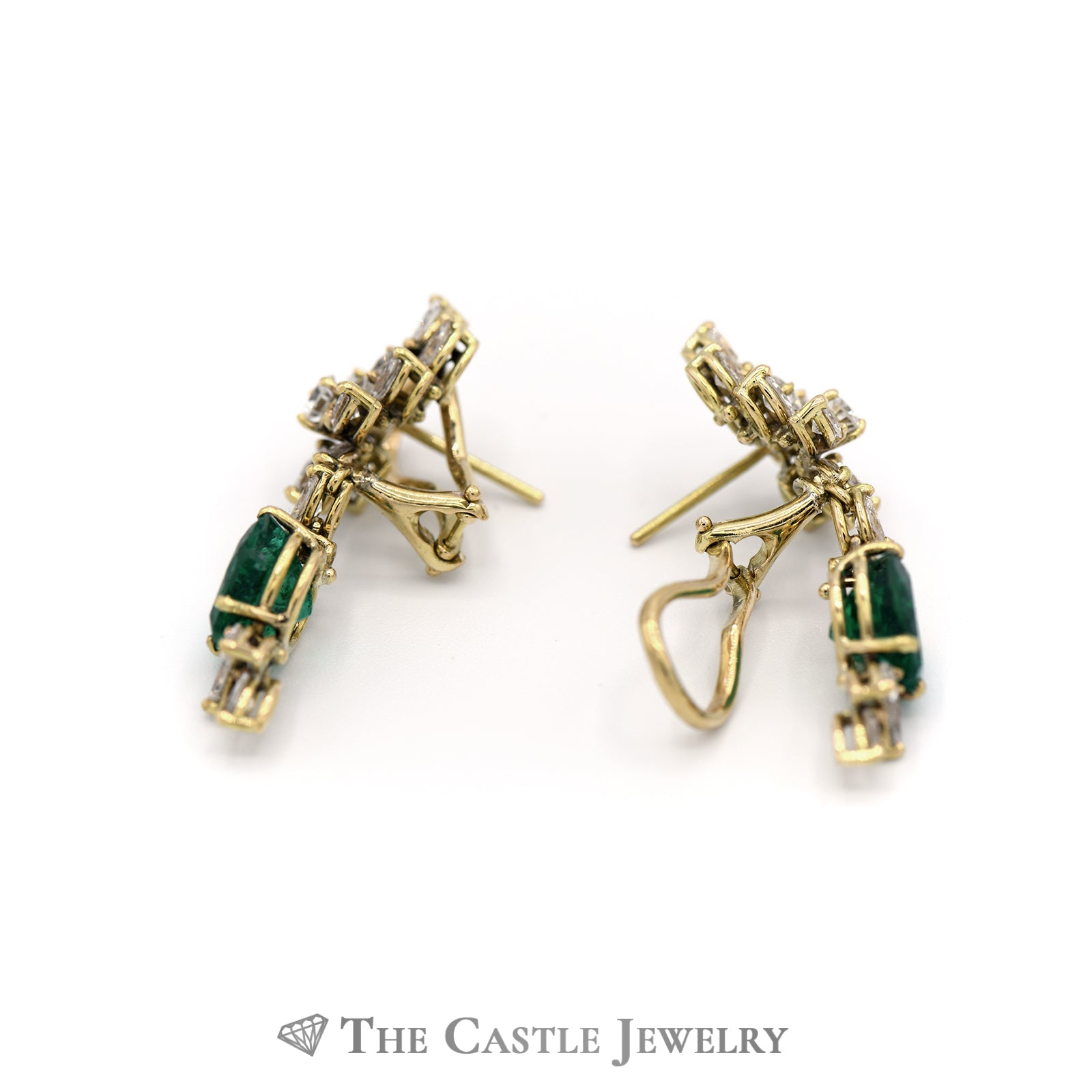 Heart Shaped Emerald & Diamond Earrings In 14k Yellow Gold-1