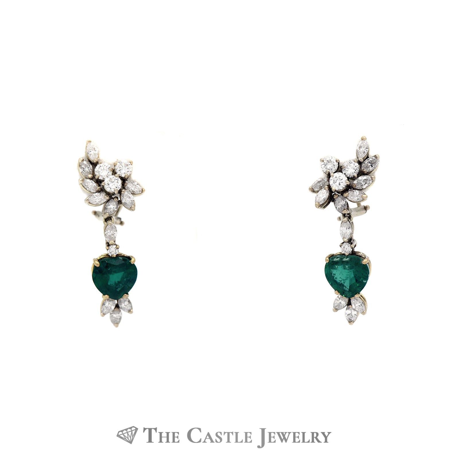 Heart Shaped Emerald & Diamond Earrings In 14k Yellow Gold