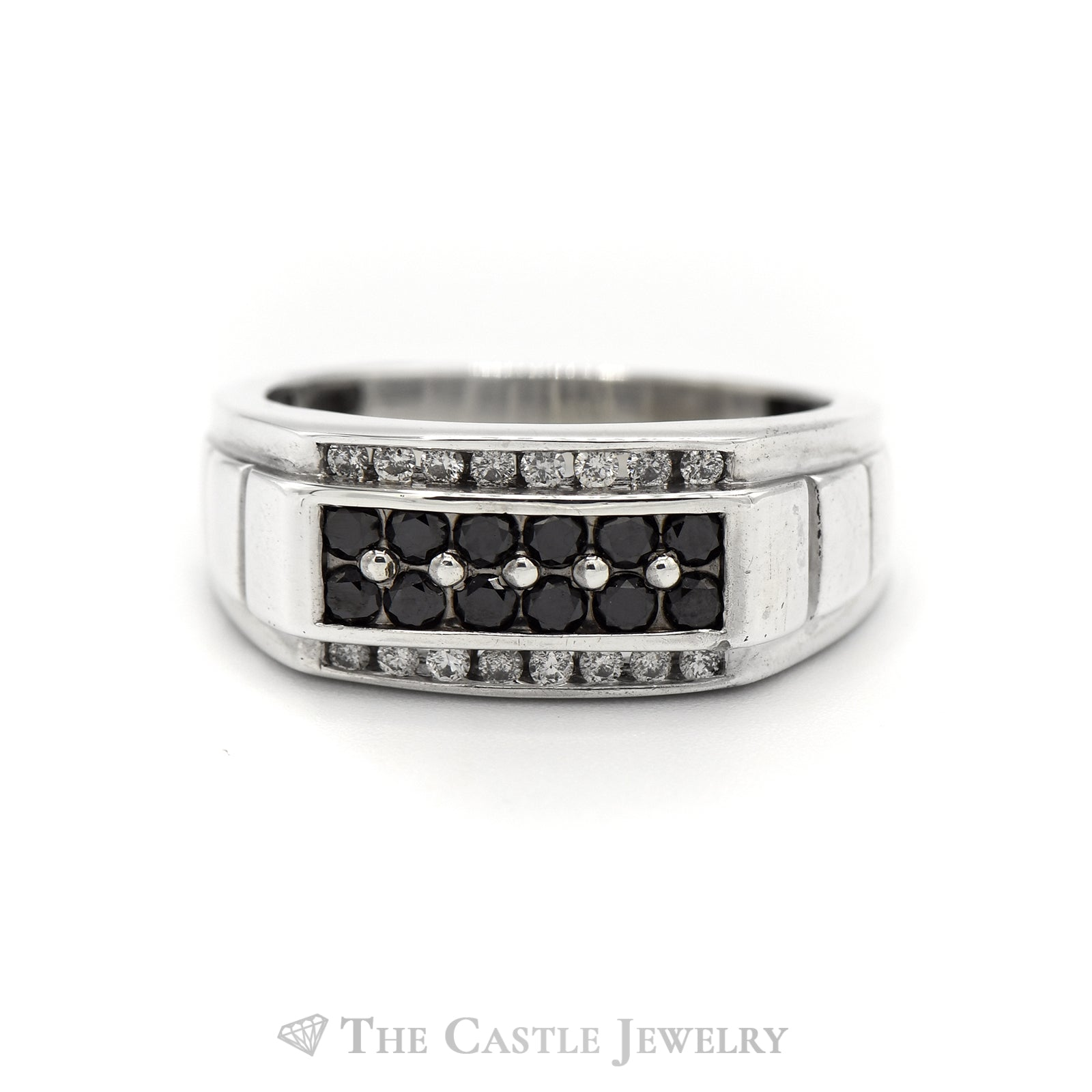 Men's 1cttw Black & White Diamond Ring in 10k White Gold