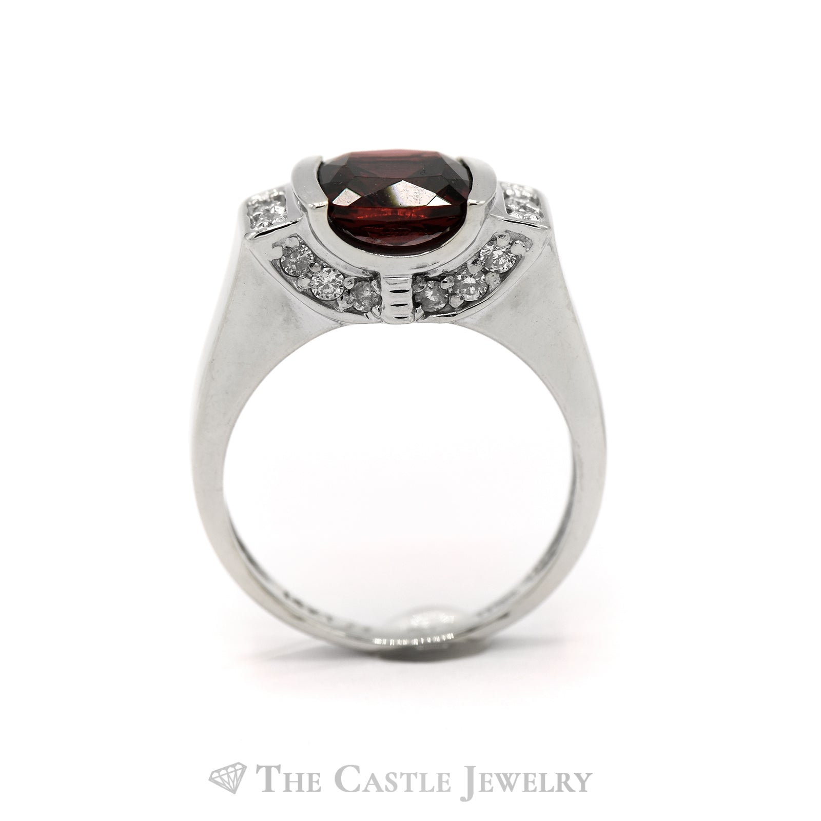 Cushion Cut Garnet and Diamond Ring in 14KT White Gold-1