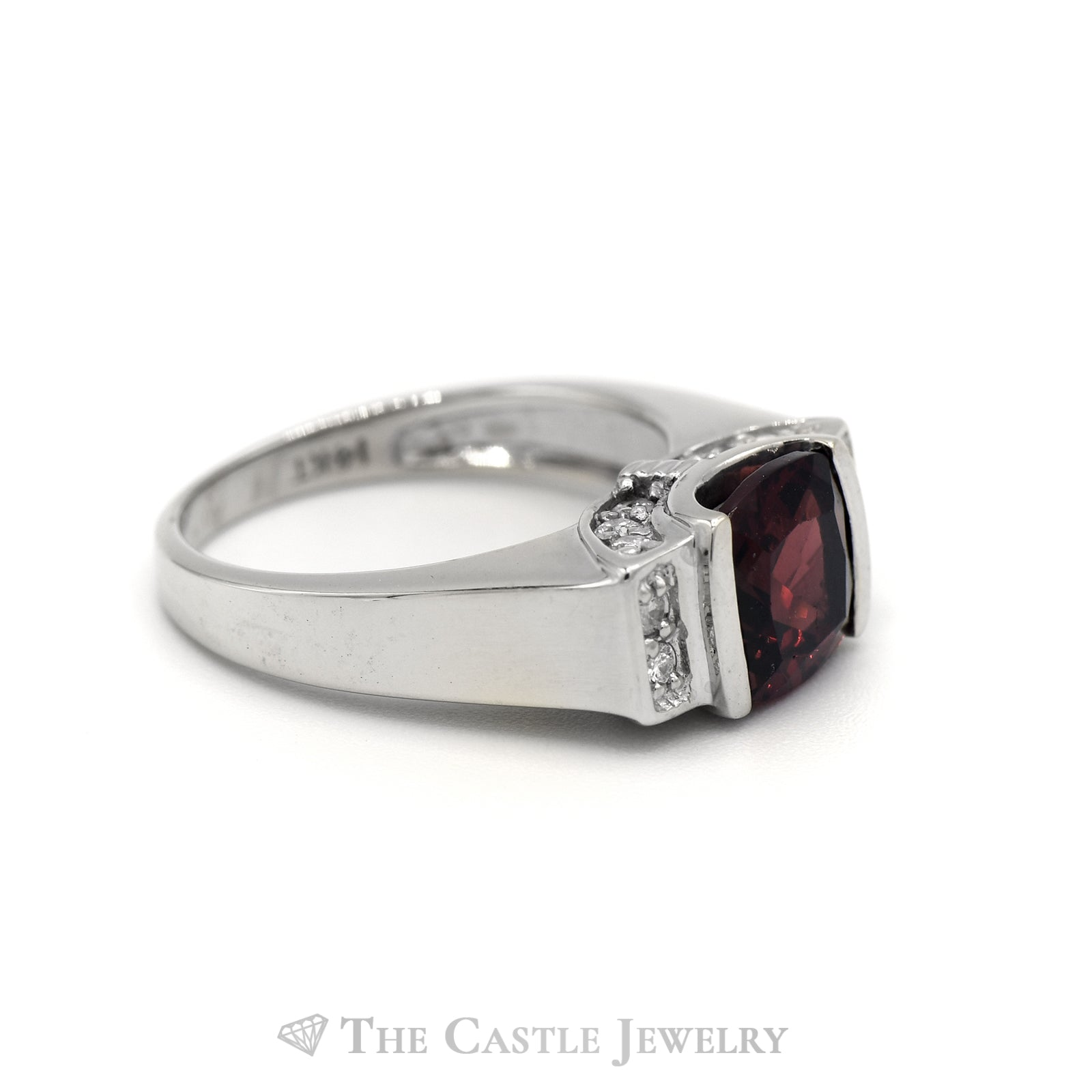 Cushion Cut Garnet and Diamond Ring in 14KT White Gold-2