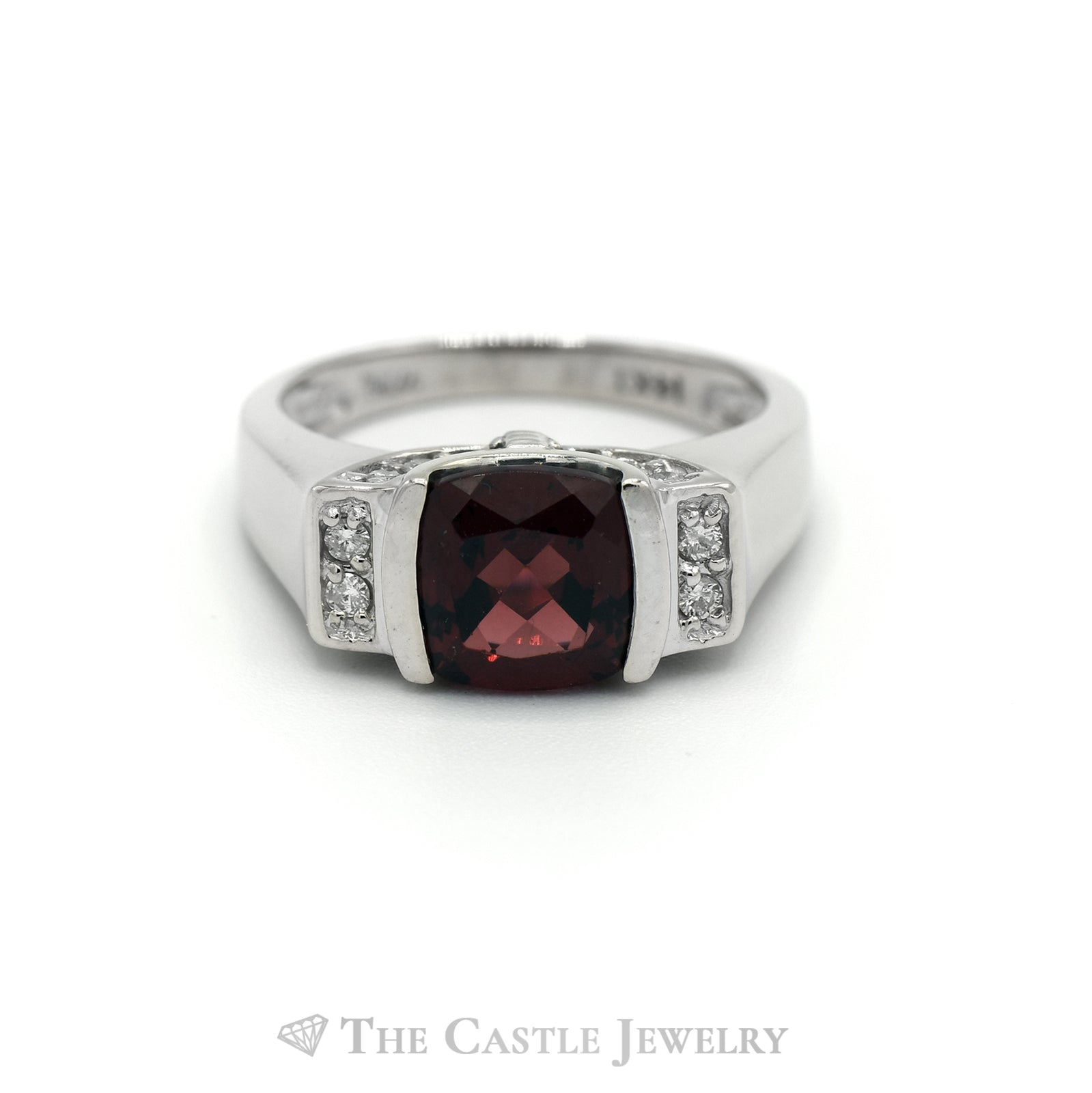 Cushion Cut Garnet and Diamond Ring in 14KT White Gold