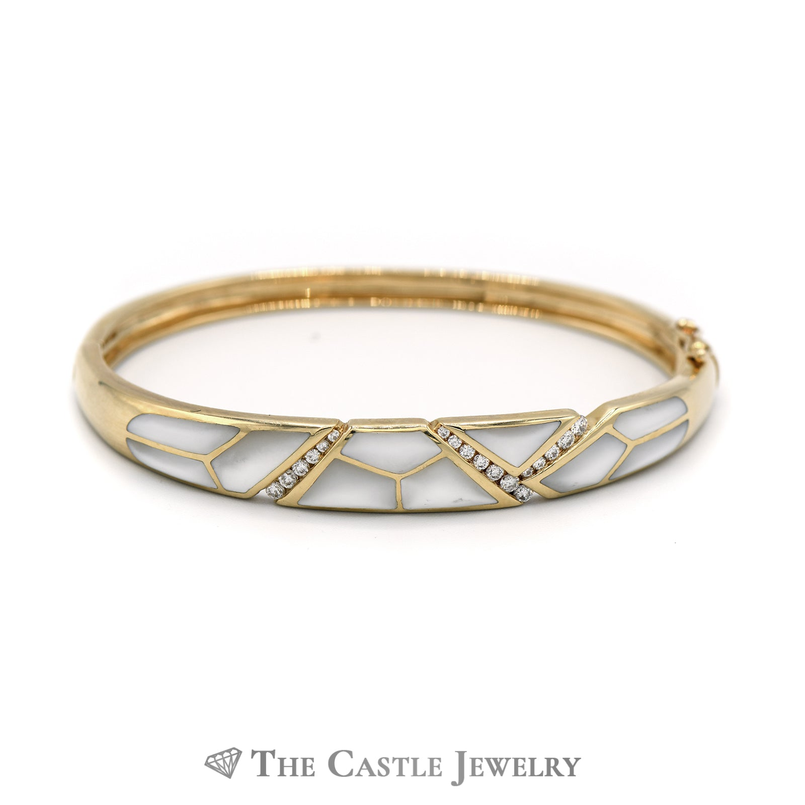 Kabana Mother of Pearl and Diamond Accent Bangle in 14KT Yellow Gold-0