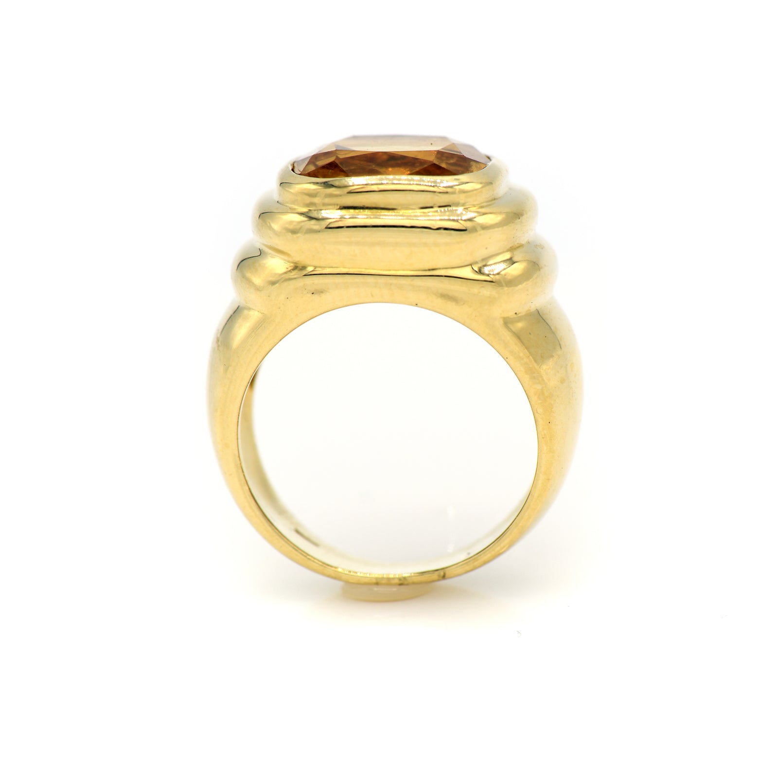 Cushion Cut Citrine Ring with Ribbed Bezel in 18k Yellow Gold-1