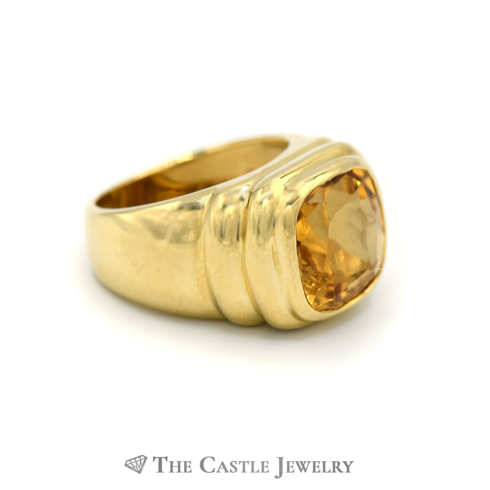 Cushion Cut Citrine Ring with Ribbed Bezel in 18k Yellow Gold-2