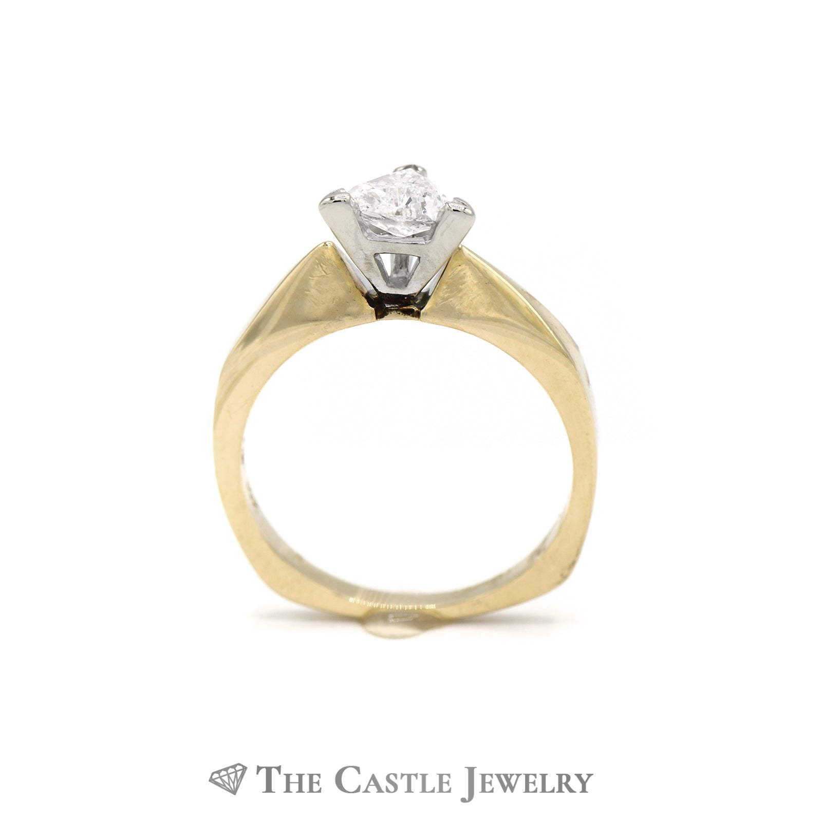 Trillion Cut Solitaire Diamond Engagement Ring in 14K Yellow Gold-1