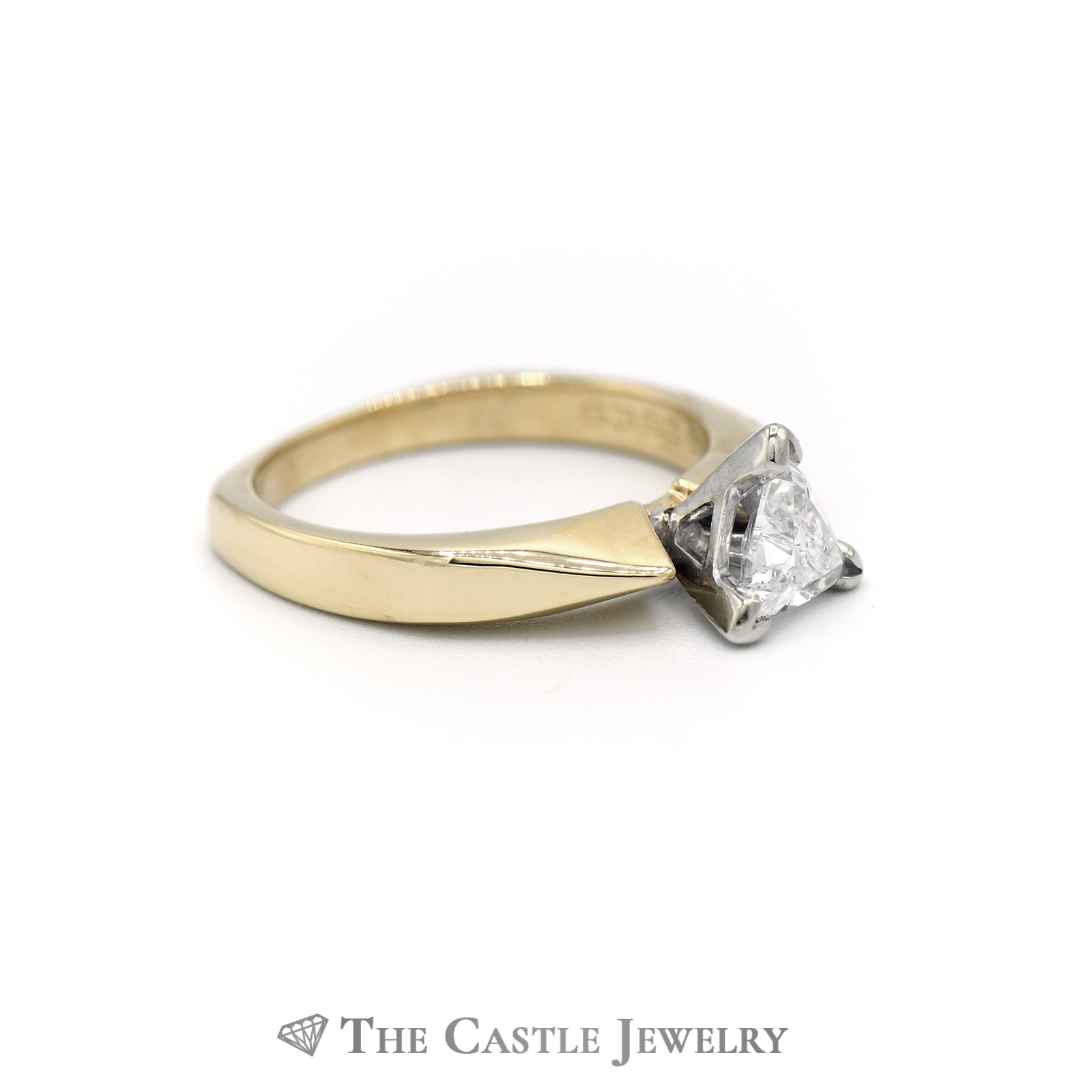 Trillion Cut Solitaire Diamond Engagement Ring in 14K Yellow Gold-2