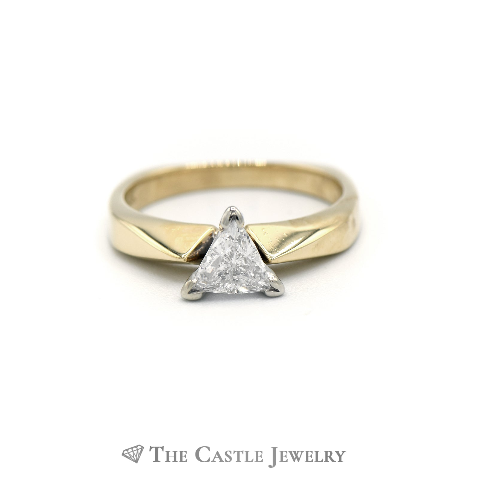 Trillion Cut Solitaire Diamond Engagement Ring in 14K Yellow Gold
