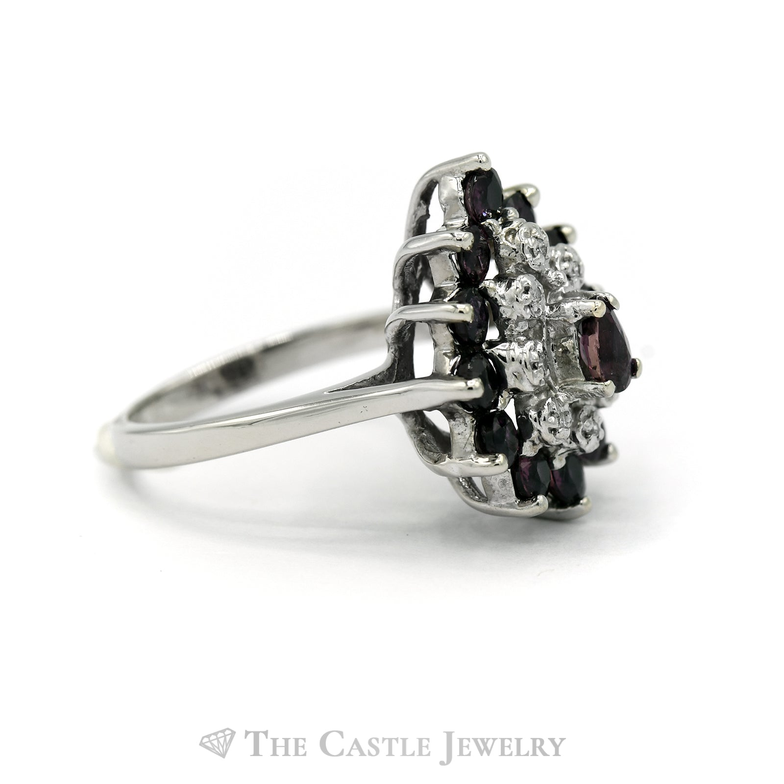 Pear Shape Rhodolite Garnet and Diamond Ring in 14KT White Gold-2