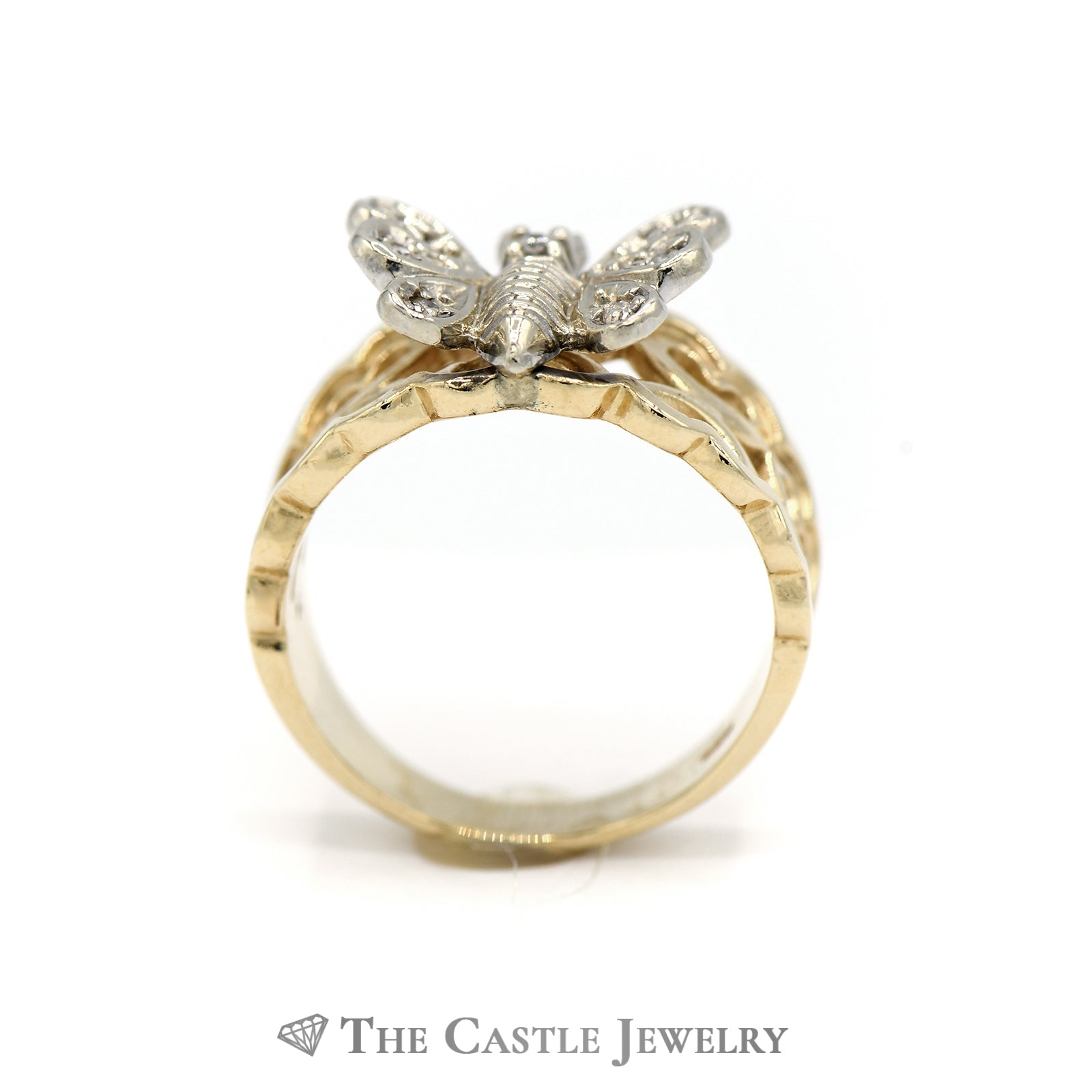Diamond Butterfly Ring with Heart Designed Sides in 14KT Gold-1