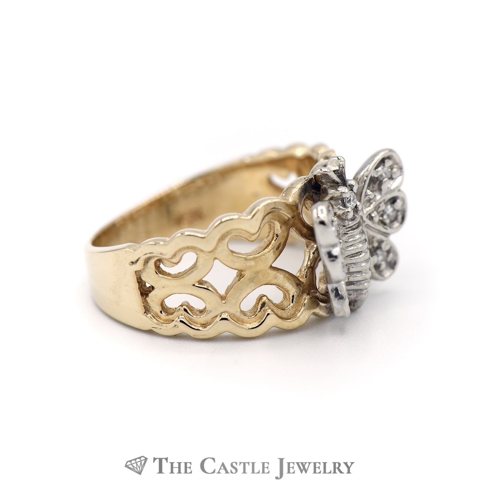 Diamond Butterfly Ring with Heart Designed Sides in 14KT Gold-2