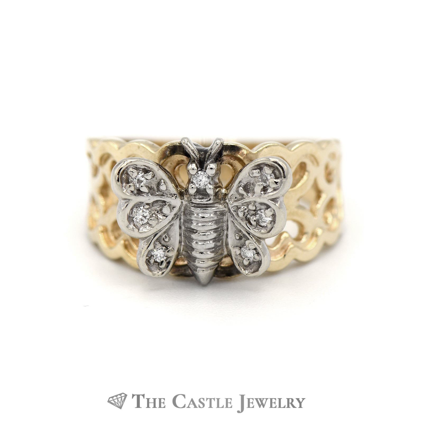 Diamond Butterfly Ring with Heart Designed Sides in 14KT Gold