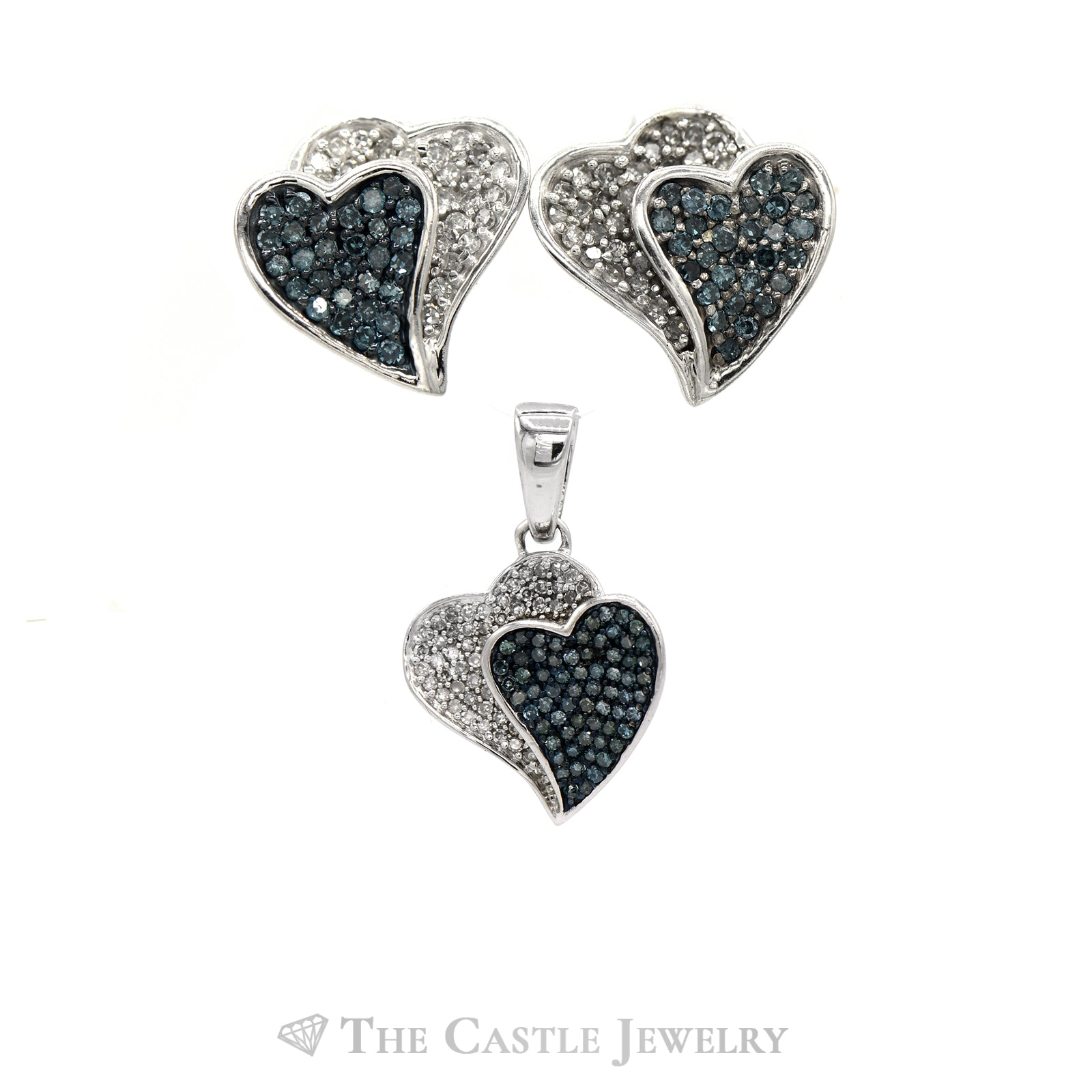 Double Heart Blue & White Diamond Earring & Pendant Set in 10k White Gold