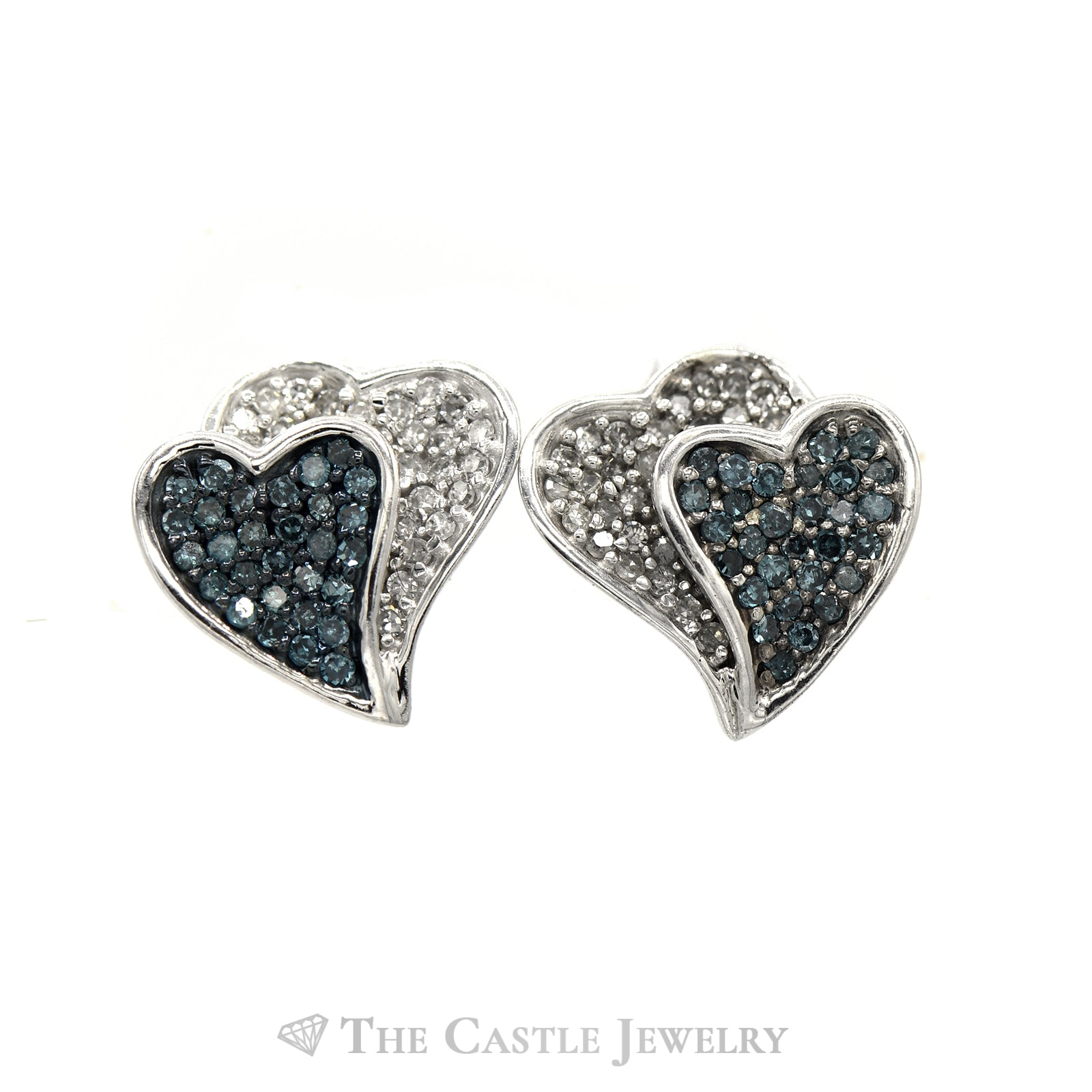 Double Heart Blue & White Diamond Earring & Pendant Set in 10k White Gold-2