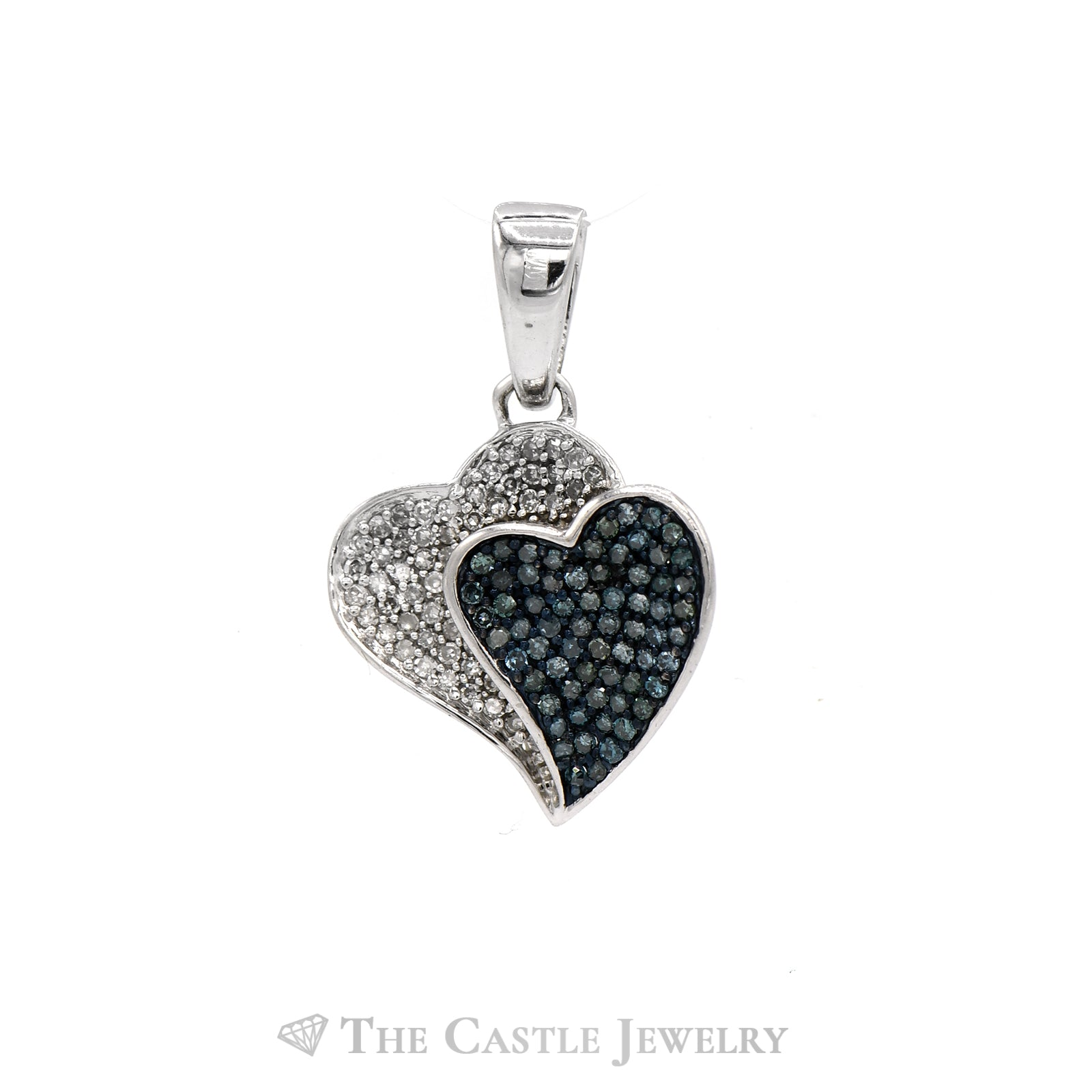 Double Heart Blue & White Diamond Earring & Pendant Set in 10k White Gold-1