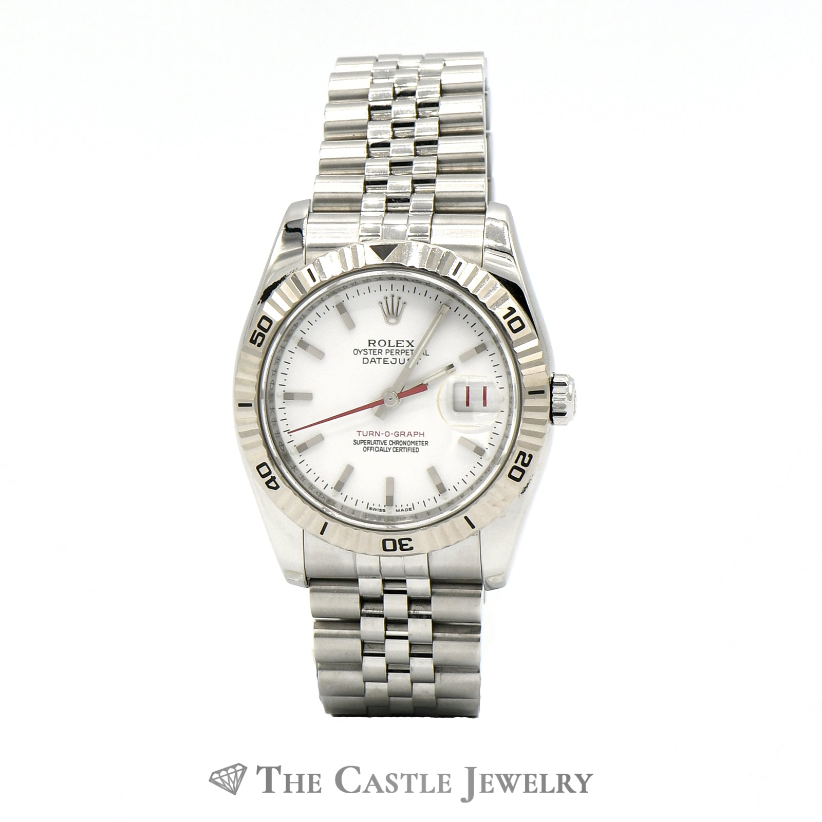 Rolex 36mm 18k Turn-O-Graph Bezel Datejust 11624 with White Dial & Jubilee Band