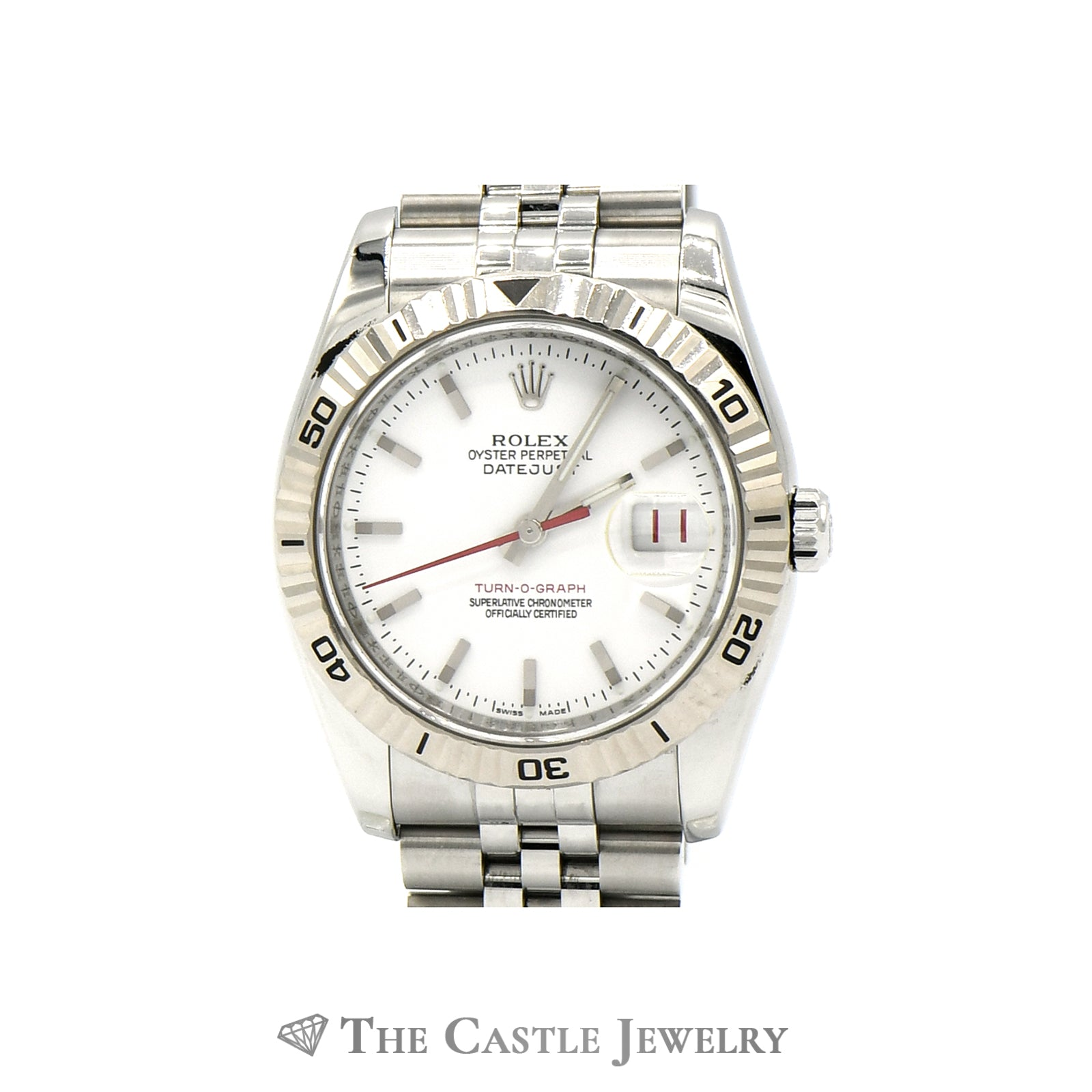Rolex 36mm 18k Turn-O-Graph Bezel Datejust 11624 with White Dial & Jubilee Band-3