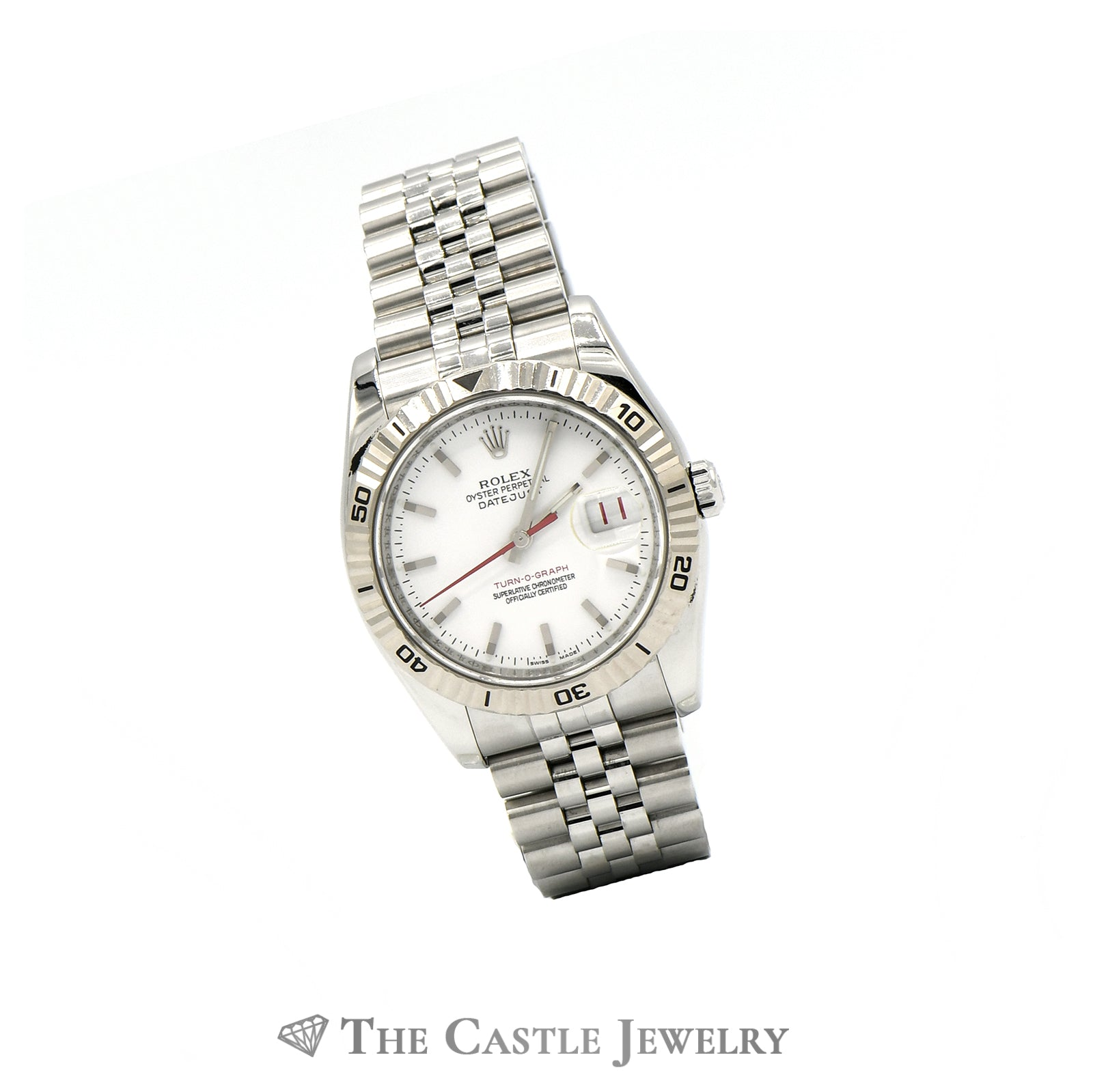 Rolex 36mm 18k Turn-O-Graph Bezel Datejust 11624 with White Dial & Jubilee Band-2